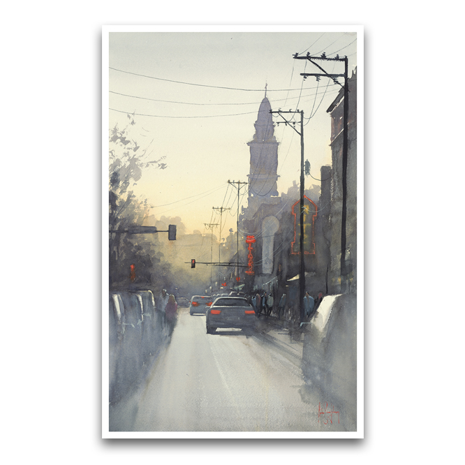 "13th Ave NE at Dusk, Mpls, 2018  18"" x 29""   buy prints  / original sold"