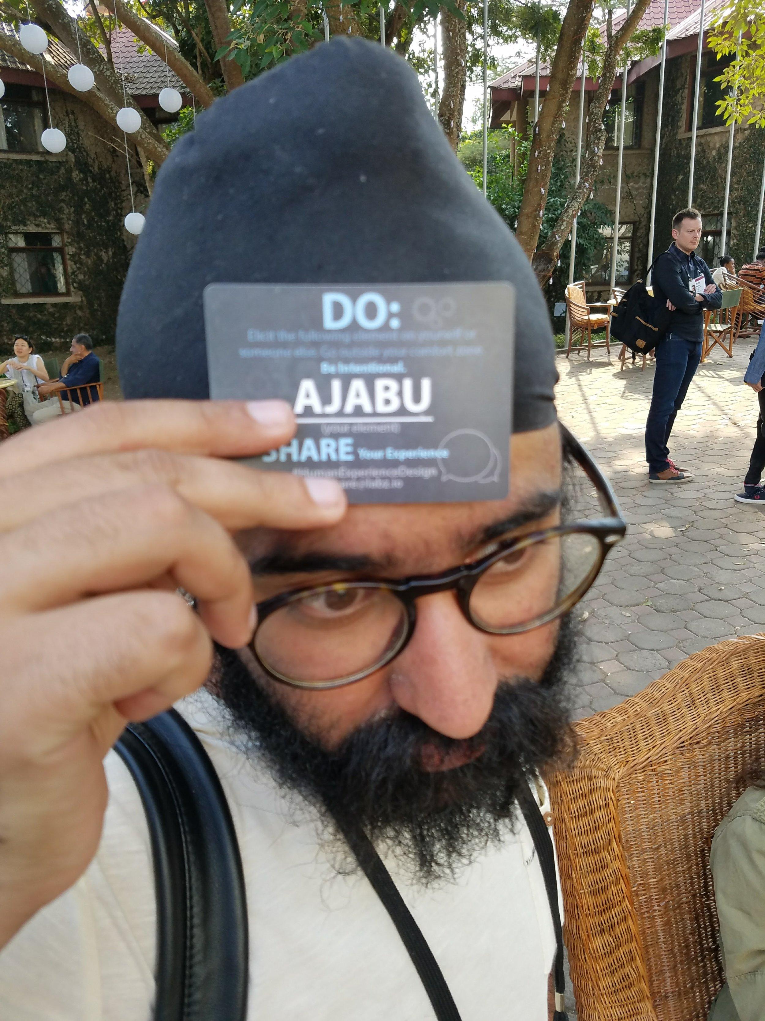"""Sartaj """"Ego Monk"""" at TED Global has an """"ajabu"""" card. Its the Swahili word for """"wonderful"""". Go create some wonder!"""