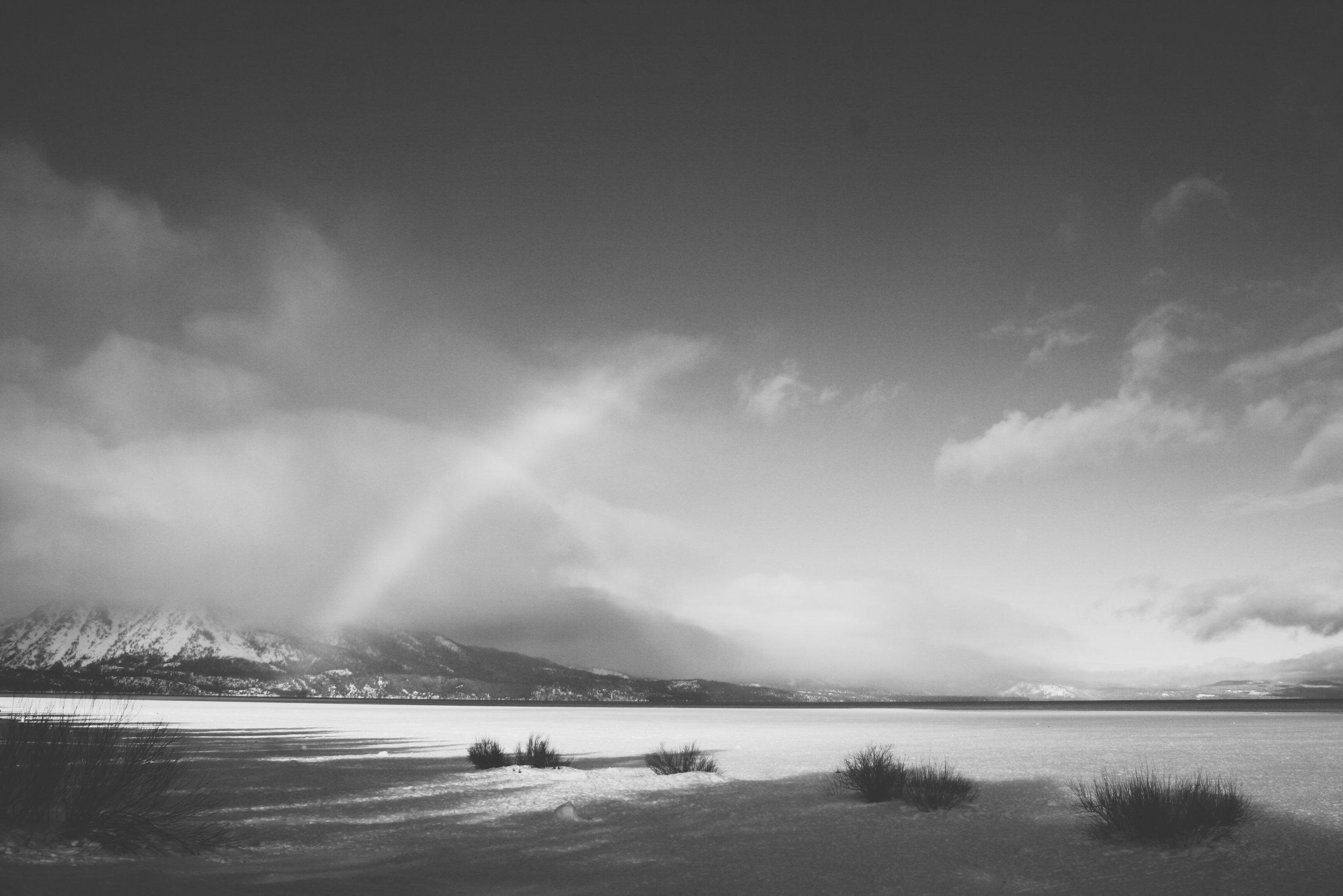 Lake Tahoe in winter, High Sierras, CA.