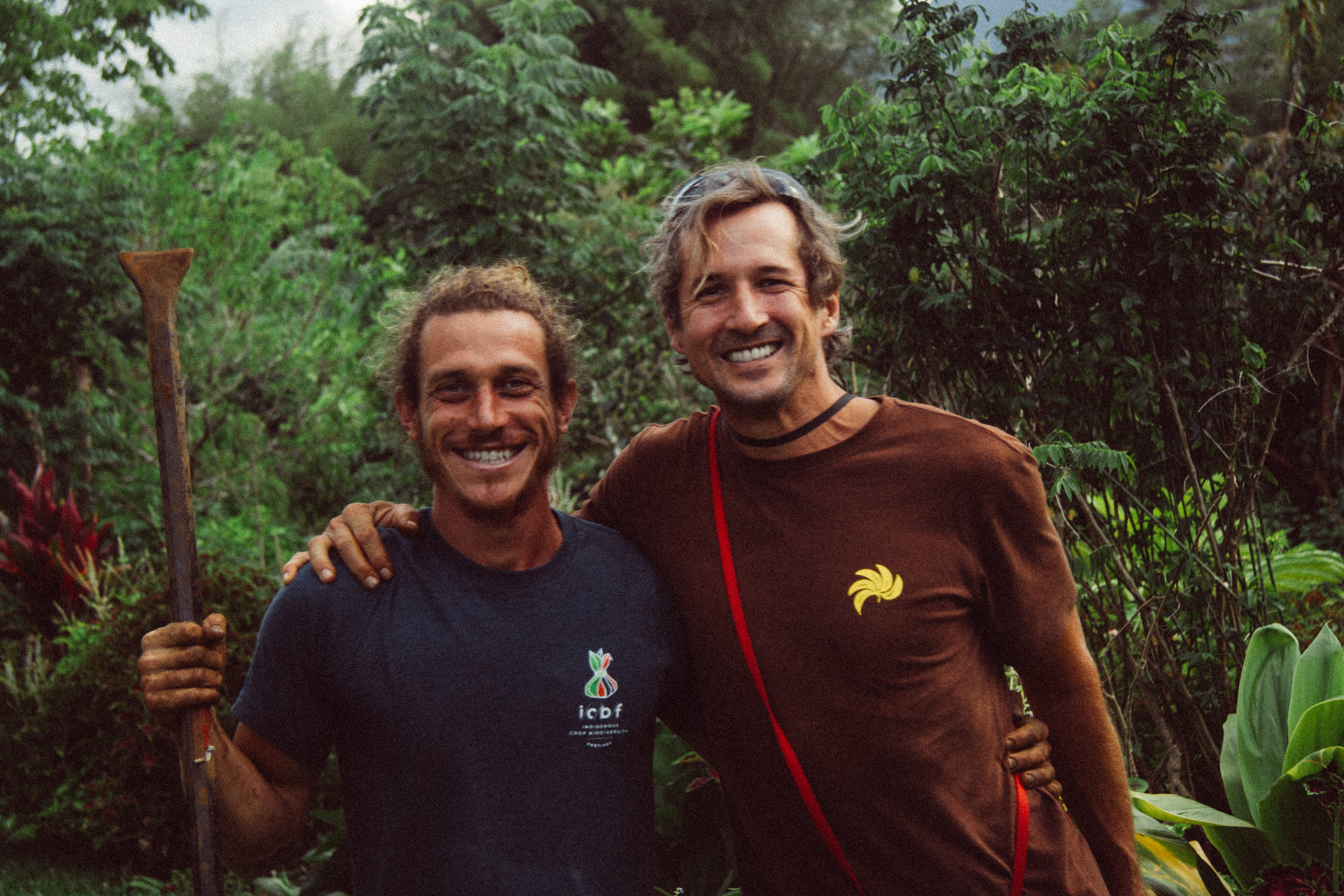Rob Cruz and Paul Massey at the Kaua'i Food Forest. May 2019.