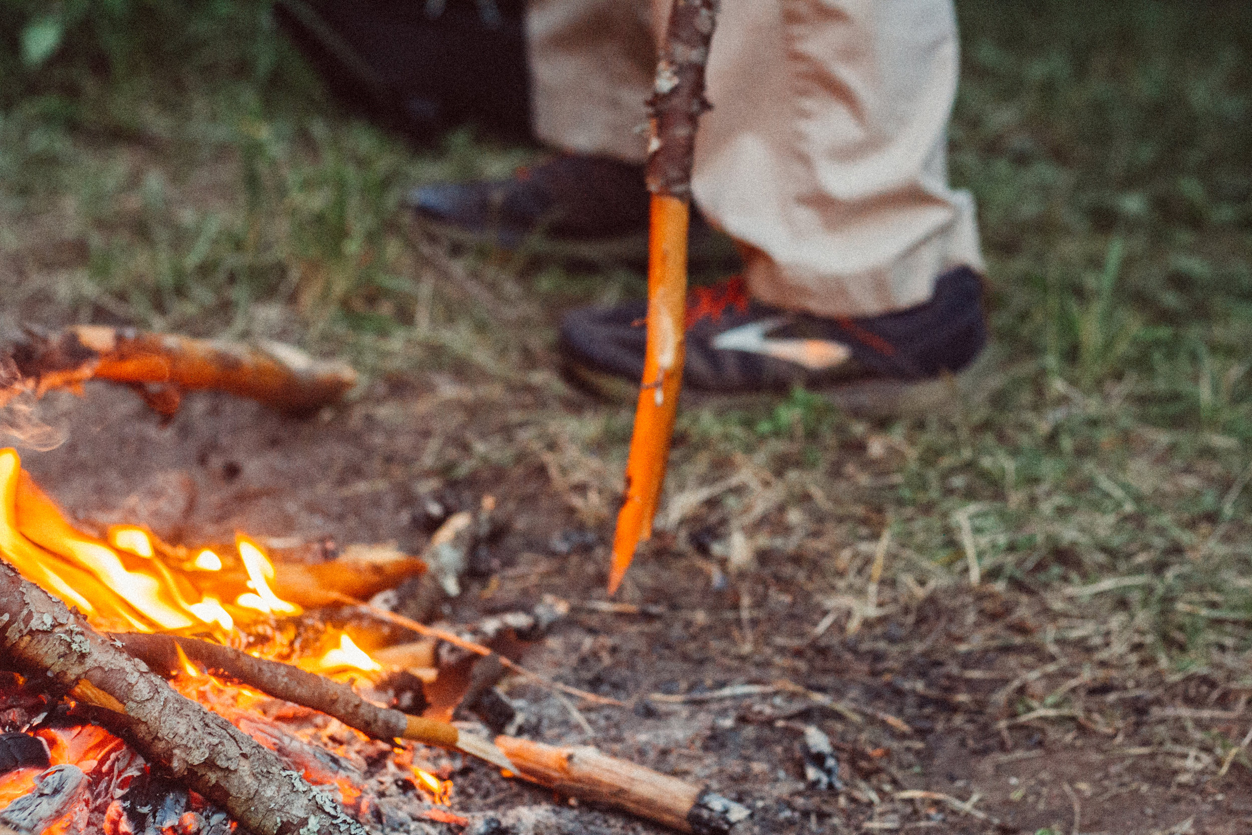 evening fires were spent telling stories while boiling bark for our bark-tan liqueur, and smoking hides.