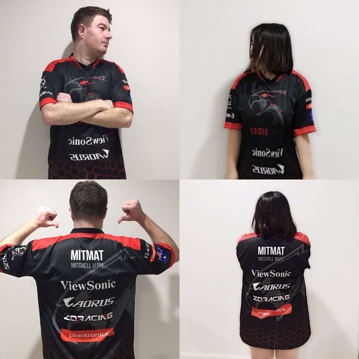 Dark Sided esports player jersey - Featuring sponsors Viewsonic, Aorus, Plantronics and ZQracing