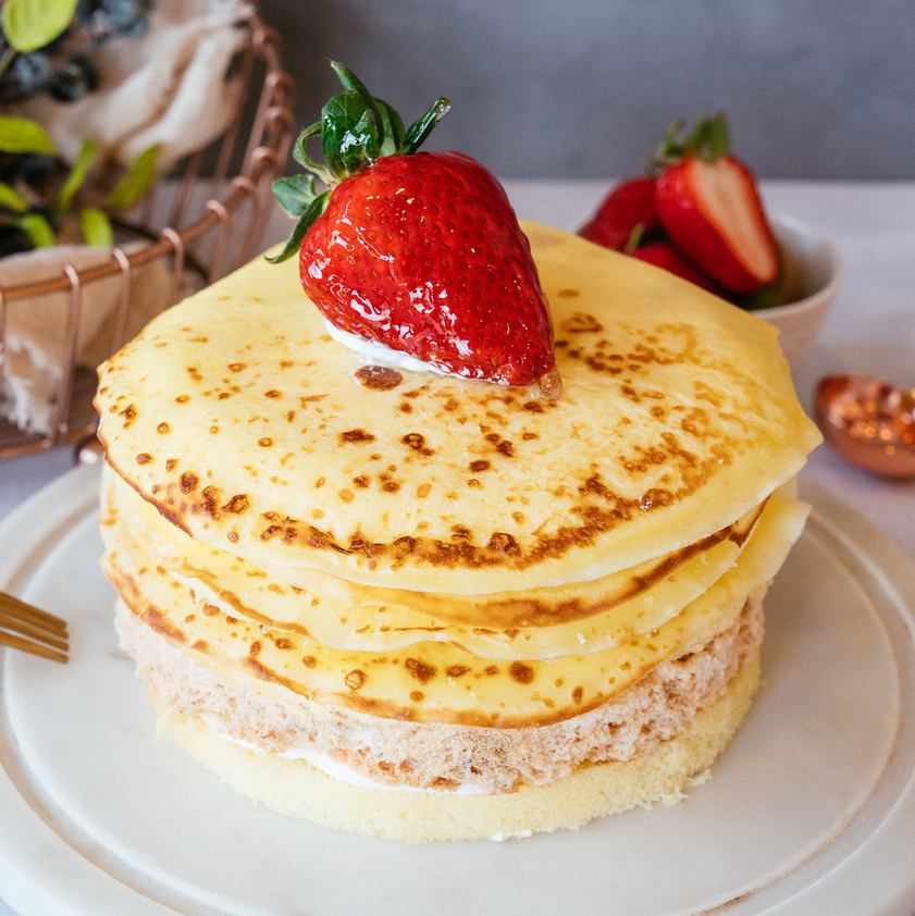 Mango Mille Crepe Cake   Fresh Mango, Almond Crispy Biscuit, Layers of Crepes, 35% Whipping Cream