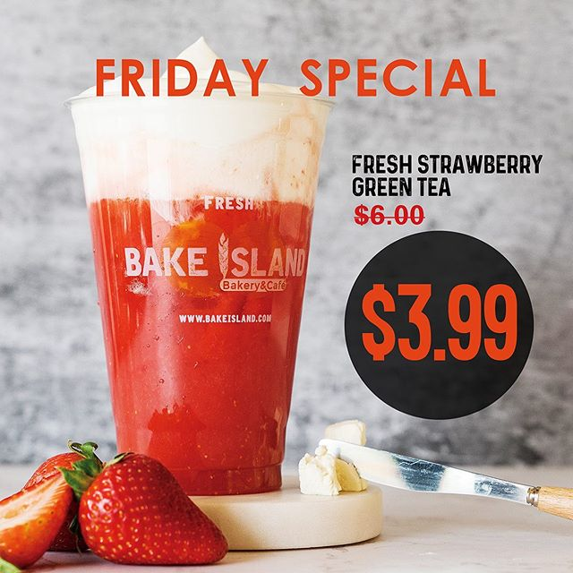 It's hot in the city🌡️ feels like almost 40 degrees! . . Don't worry, let's beat the heat with @bakeisland  cold strawberry green tea🍓 . . Special for every Saturday, ONLY $3.99❗️❗️❗️Stay hydrated my friends💧