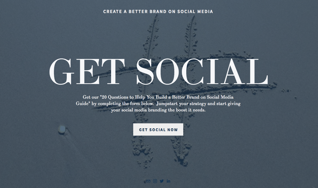 Landing Page Example from All The Social's website.
