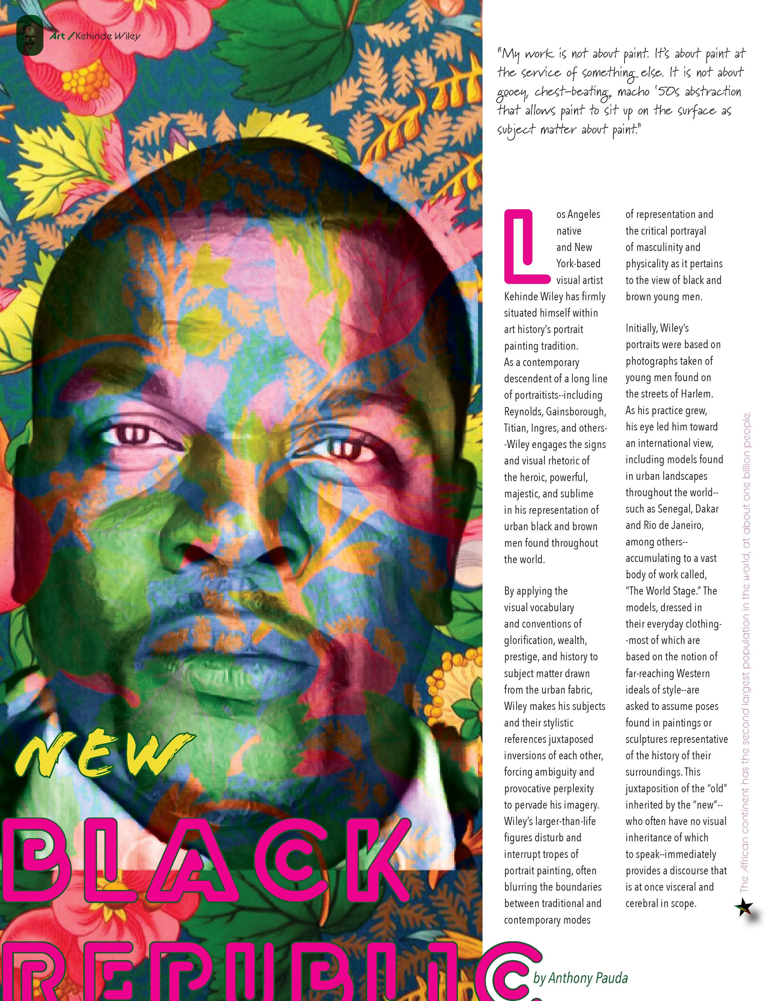 A Kehinde Wiley article for the Front of The Book II