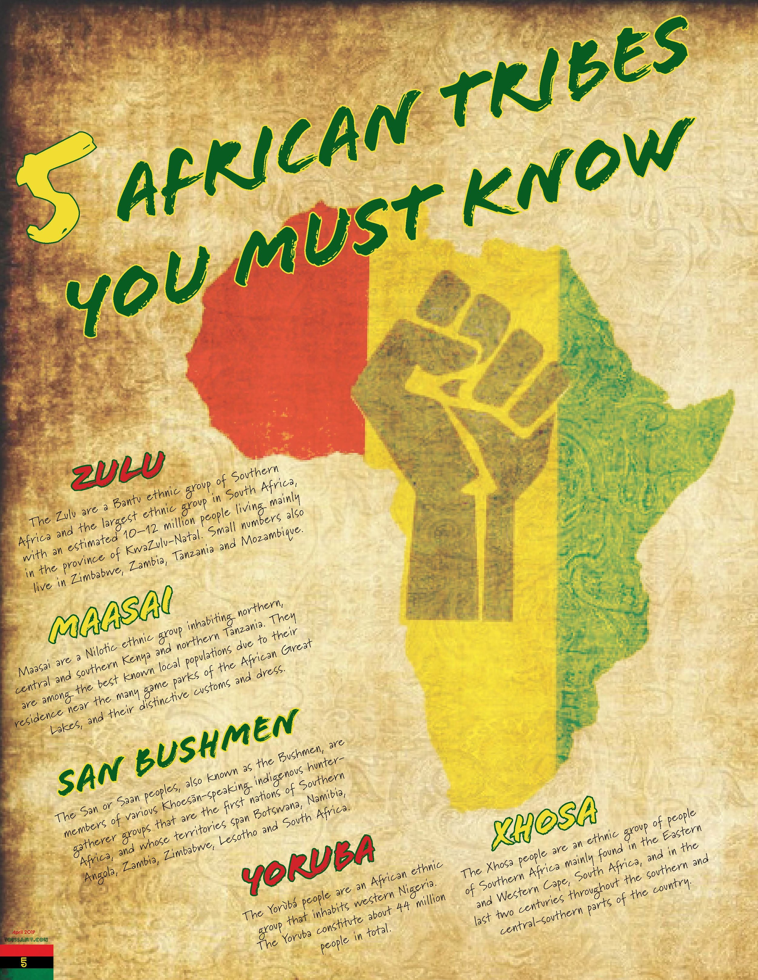"""5 African Tribes You Must Know"" article for the Front of The Book"