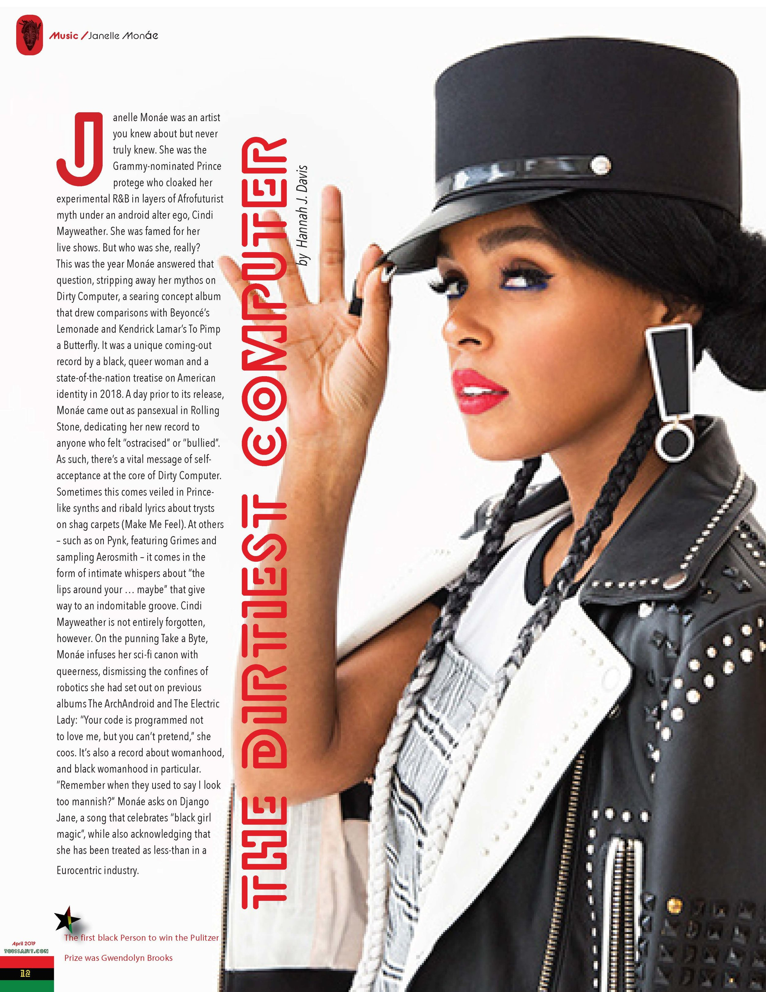 The Janelle Monáe article for the Front of The Book