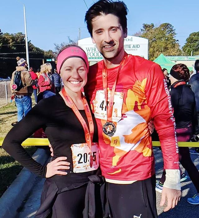 As I laid supine and near death on the pavement after finishing the 8k at the Raleigh TurkeyTrot, this QT from my past walked up! I thought I was being saved by a Guardian Angel! 😇🏹😍 (I beat my time from last year by 2 minutes and won a super sweet medal too!) F*ck Multiple Sclerosis!  #turkeytrot #dead #saved