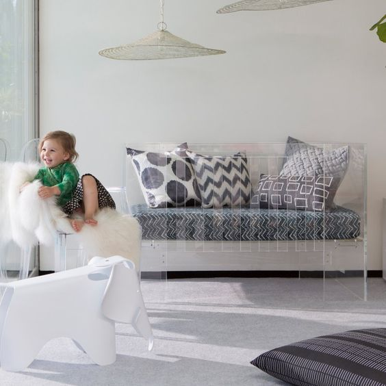 This is the ultimate beauty of acrylic furniture; it allows you to get expressive with your choice of soft furnishings.