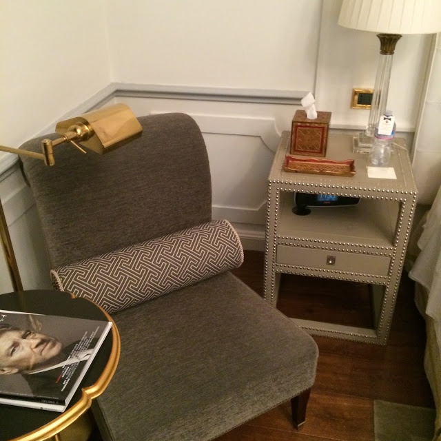 My favorite corner of the room. Love the stud detailing on the chair and nightstand.