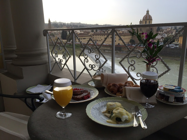 The stunning view of the Arno River from our terrace, where we insisted on having breakfast everyday during our stay.