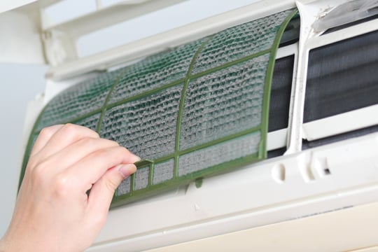 Most residential flats use split type air conditioners, which would have similar filter to the above. Source: Internet