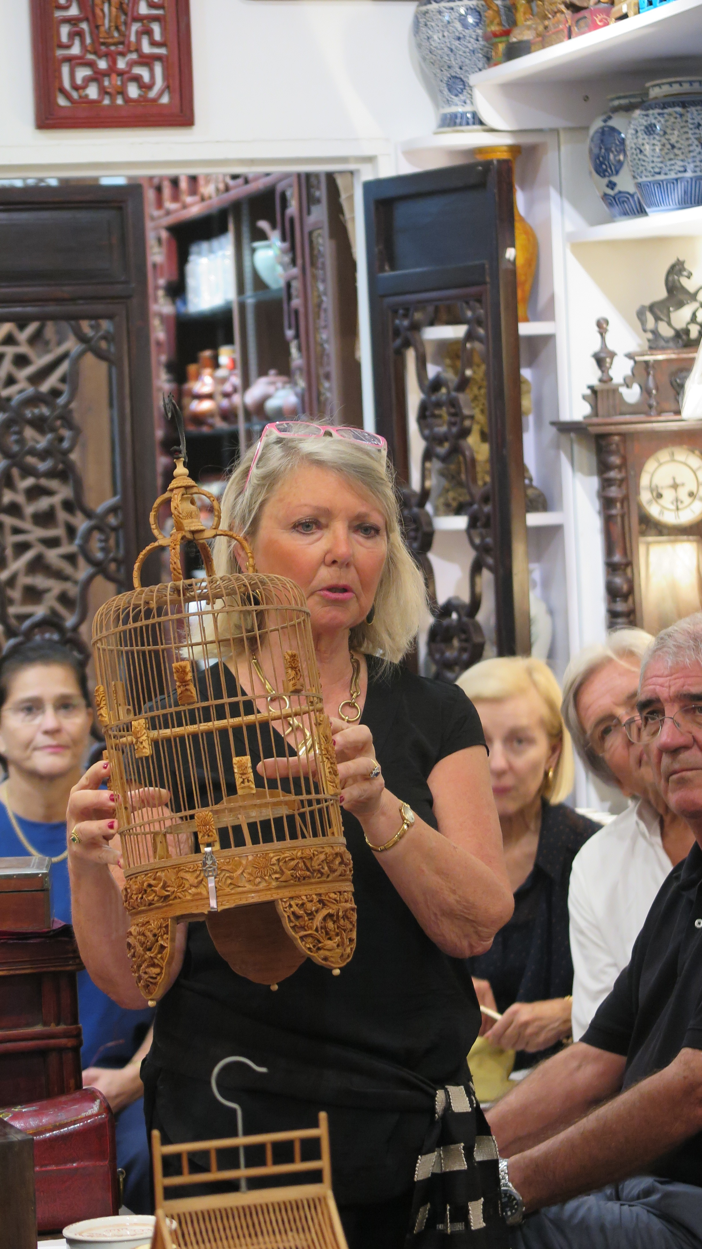 Our guest speaker Annig Huchet from APSARA explaining the details on an intricately hand carved birdcage