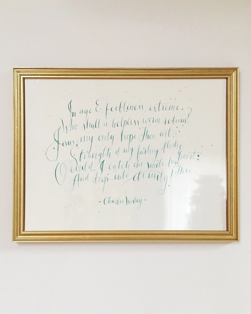 Hymn Calligraphy Wall Hanging for Ro family   Zebra G nib + gouache