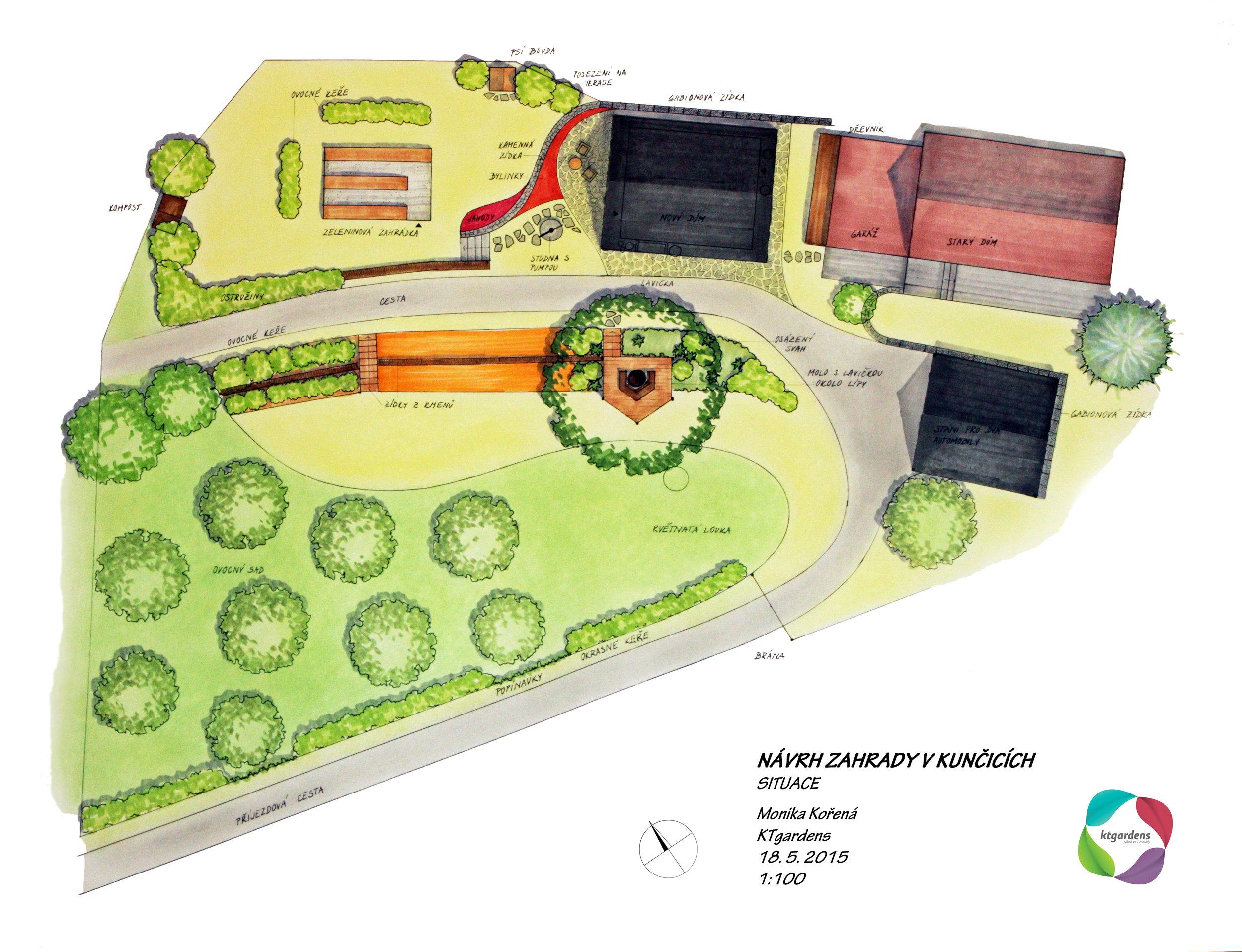 Návrh zahrady v Kunčicích pod Ondřejníkem, venkovská zahrada, KTgardens