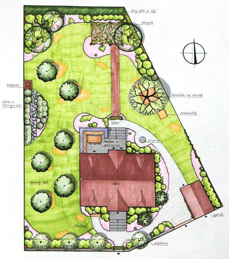 Návrh zahrady v Praze Kbelích, romantická zahrada, KTgardens