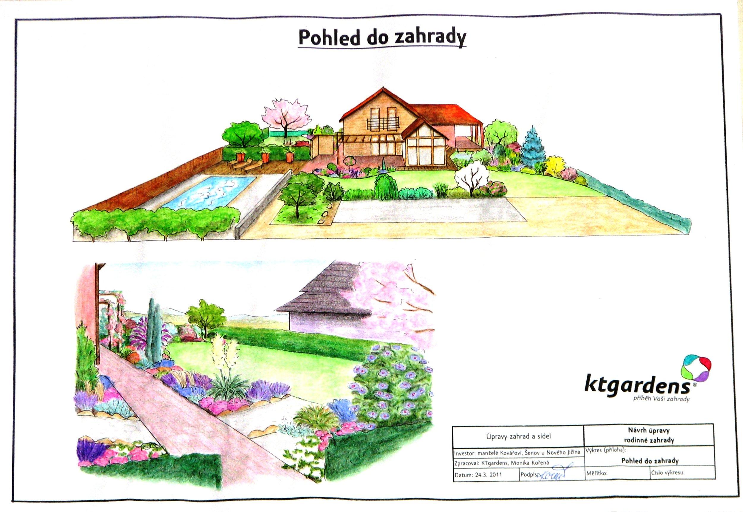 Návrh zahrady v Šenově u Nového Jičína, romantická zahrada, KTgardens