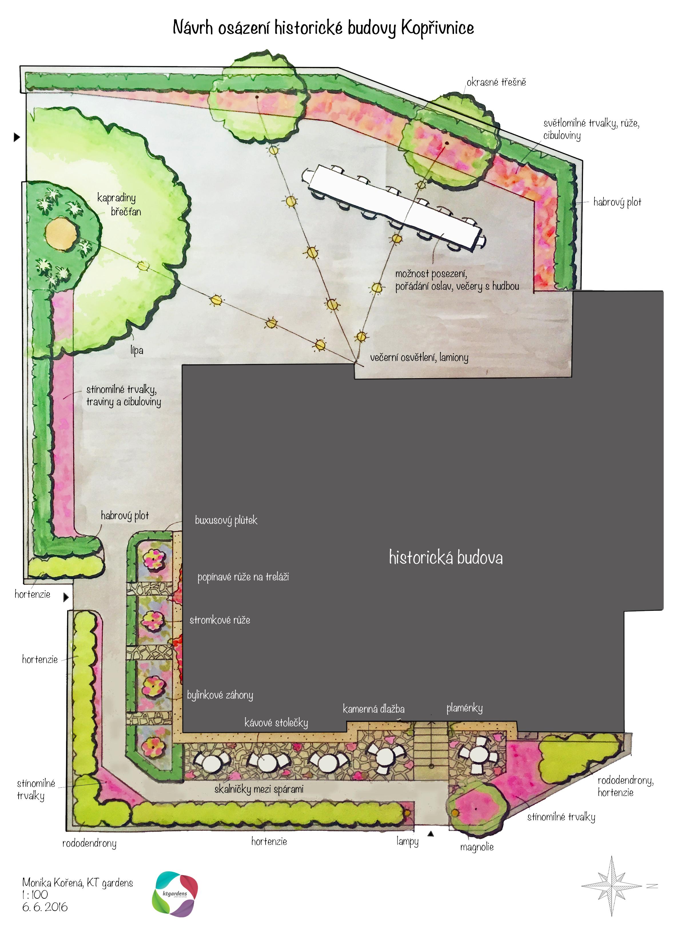 Návrh zahrady v Kopřivnici, romantická zahrada, zahrada u vily, KTgardens