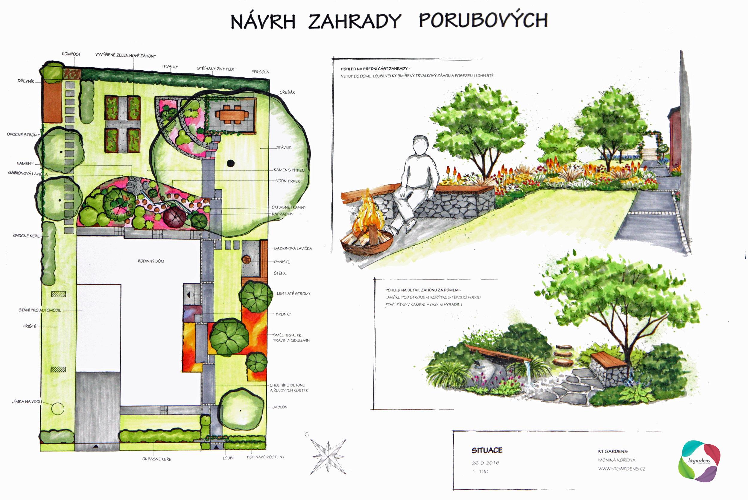 Návrh zahrady v Libhošťi u Nového Jičína, moderní zahrada, KTgardens
