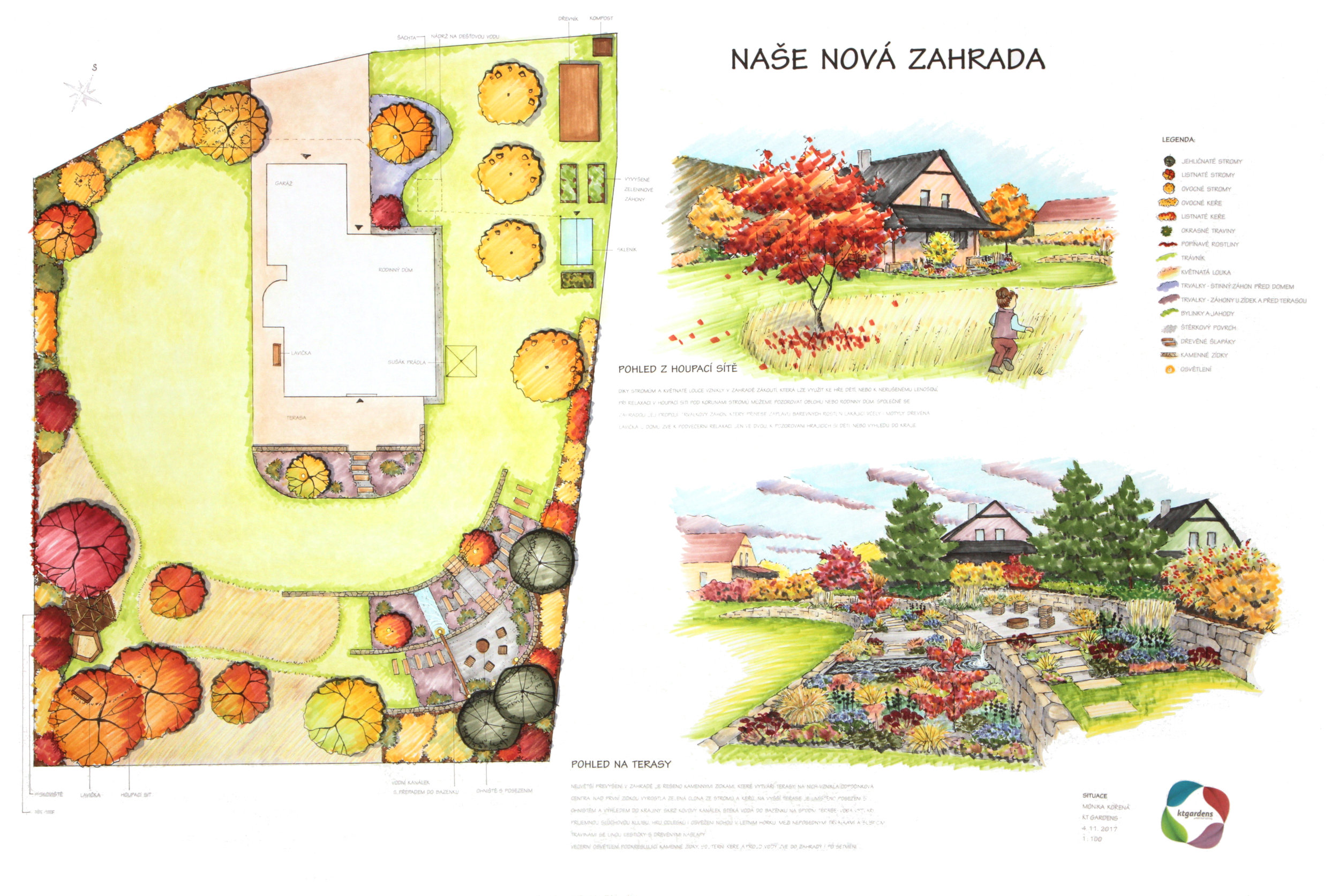 Návrh zahrady Rybí, venkovská zahrada, moderní zahrada, KTgardens
