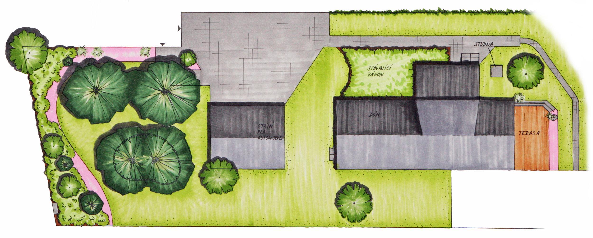 návrh zahrady v Zelinkovicích