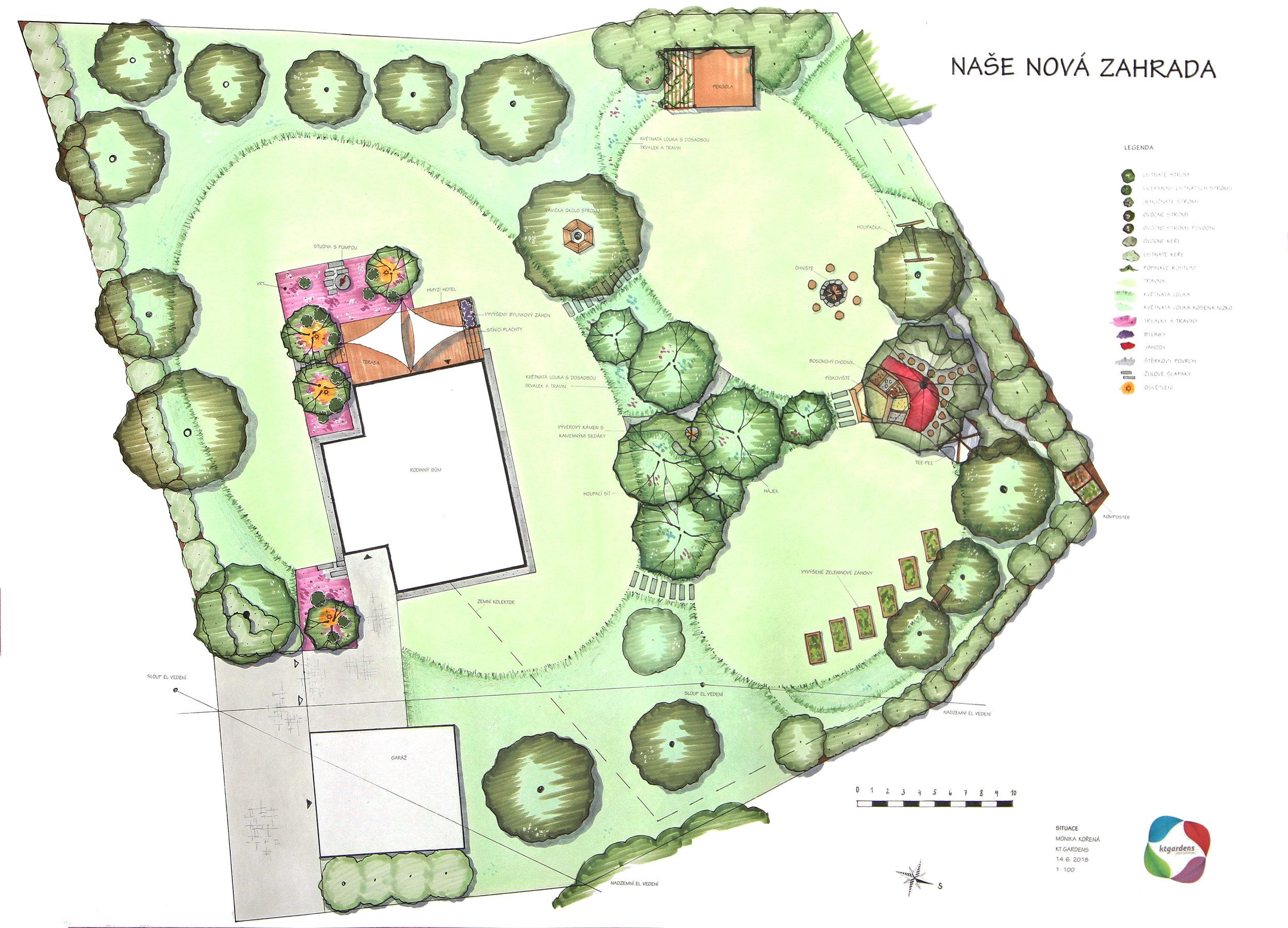 Návrh zahrady v Oldřichovicích, moderní venkovská zahrada, přírodní zahrada, rodinná zahrada, KTgardens