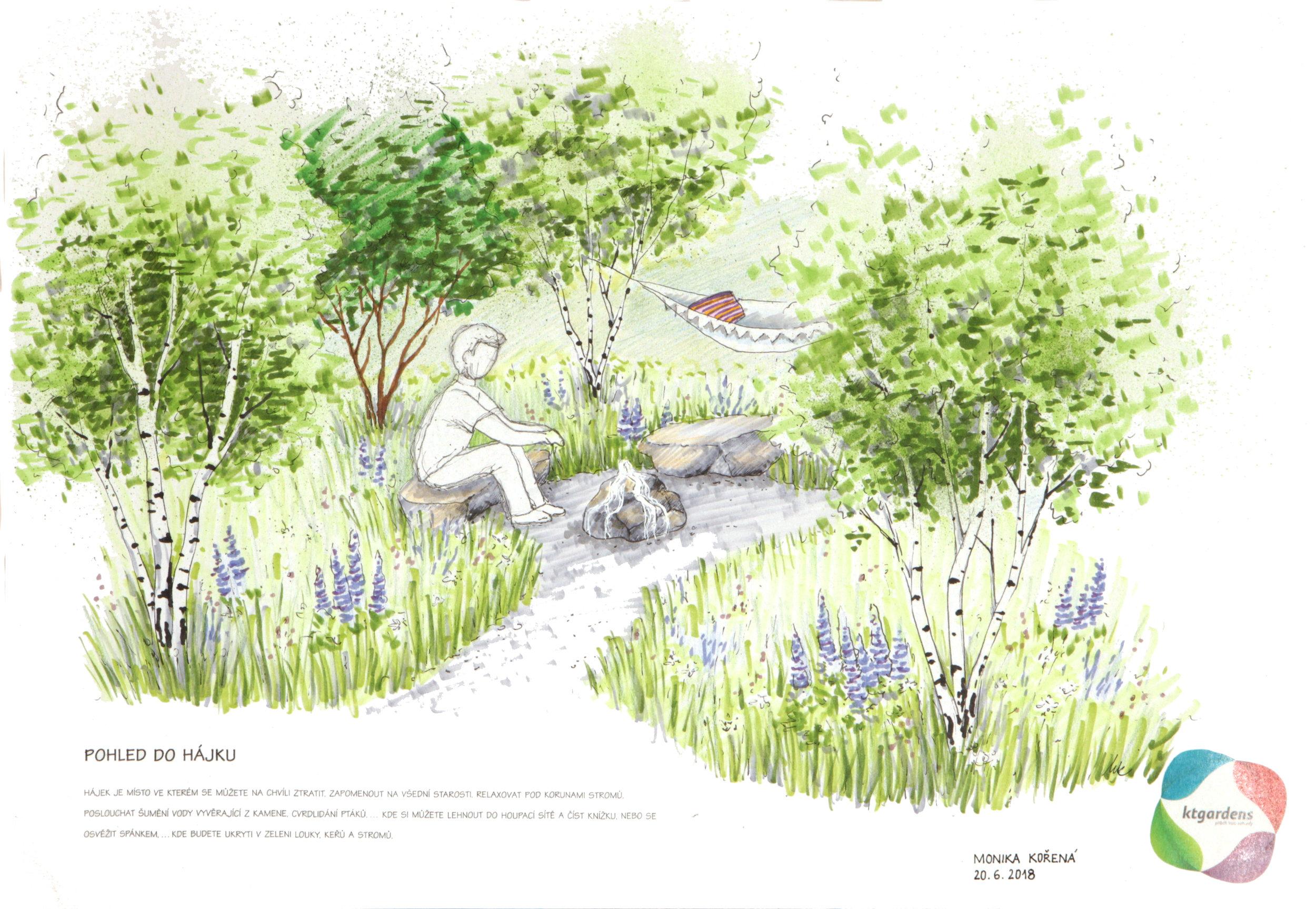 Návrh zahrady v Oldřichovicích, moderní venkovská zahrada, přírodní zahrada, rodinná zahrada, lesík, voda, KTgardens