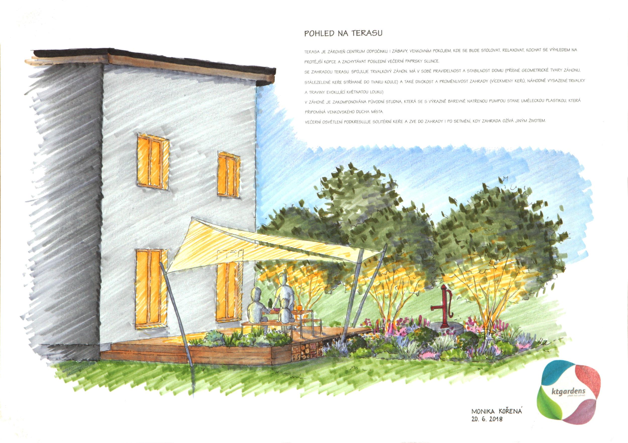 Návrh zahrady v Oldřichovicích, moderní venkovská zahrada, přírodní zahrada, rodinná zahrada, terasa, KTgardens