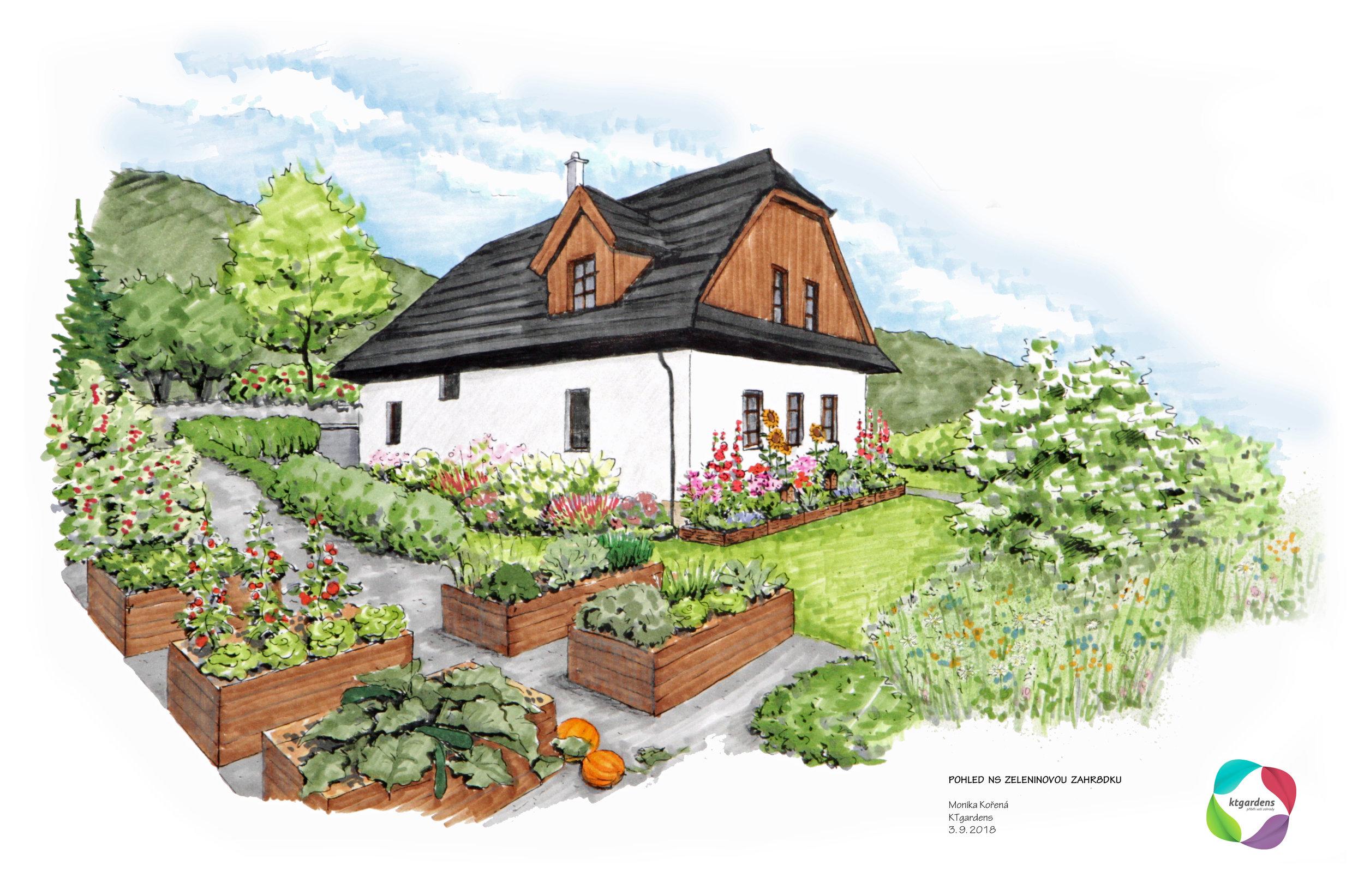 Návrh zahrady ve Vyšních Lhotách, venkovská zahrada, přírodní zahrada, rodinná zahrada, zeleninová zahrada, KTgardens