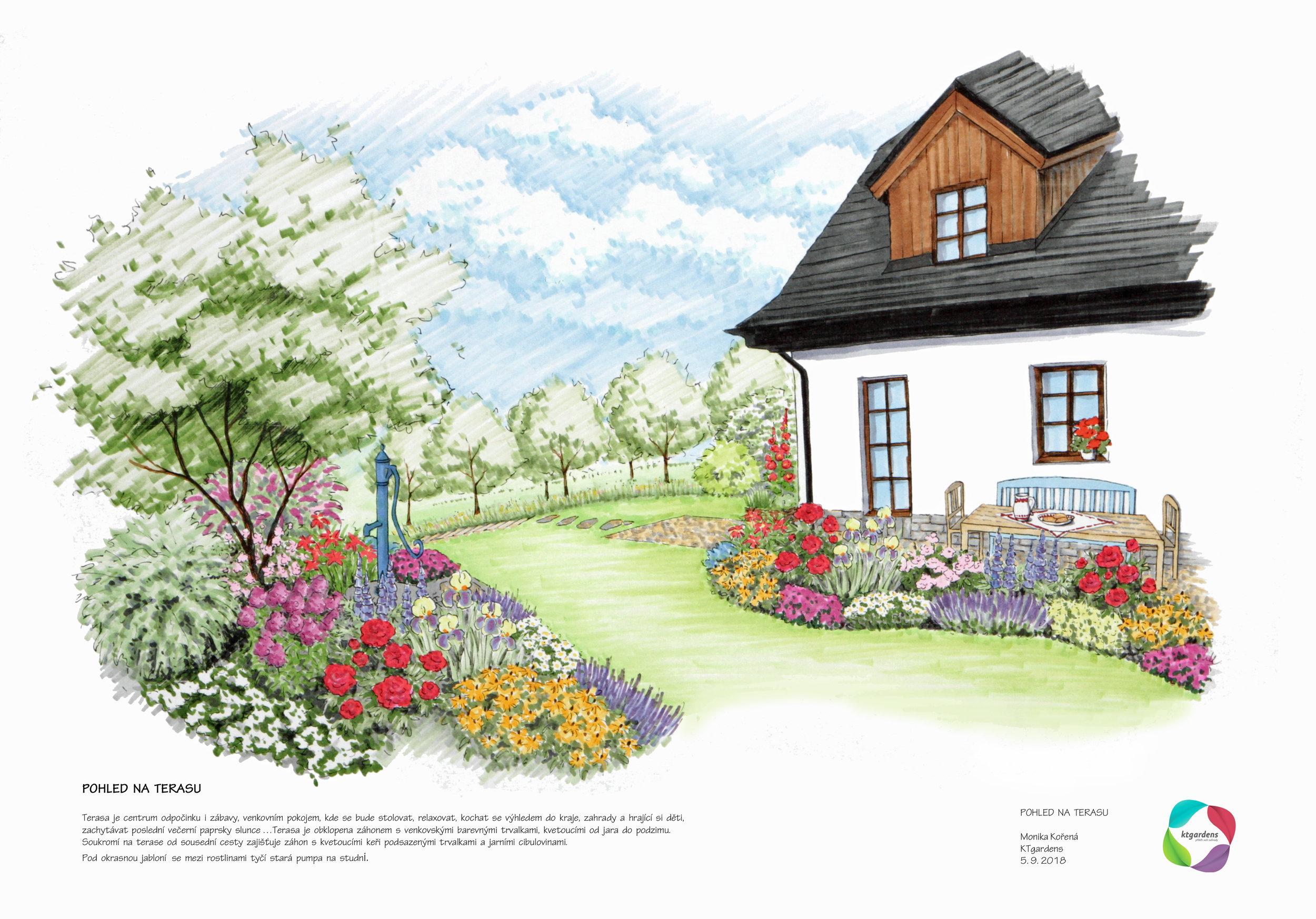 Návrh zahrady ve Vyšních Lhotách, venkovská zahrada, přírodní zahrada, rodinná zahrada, terasa, KTgardens