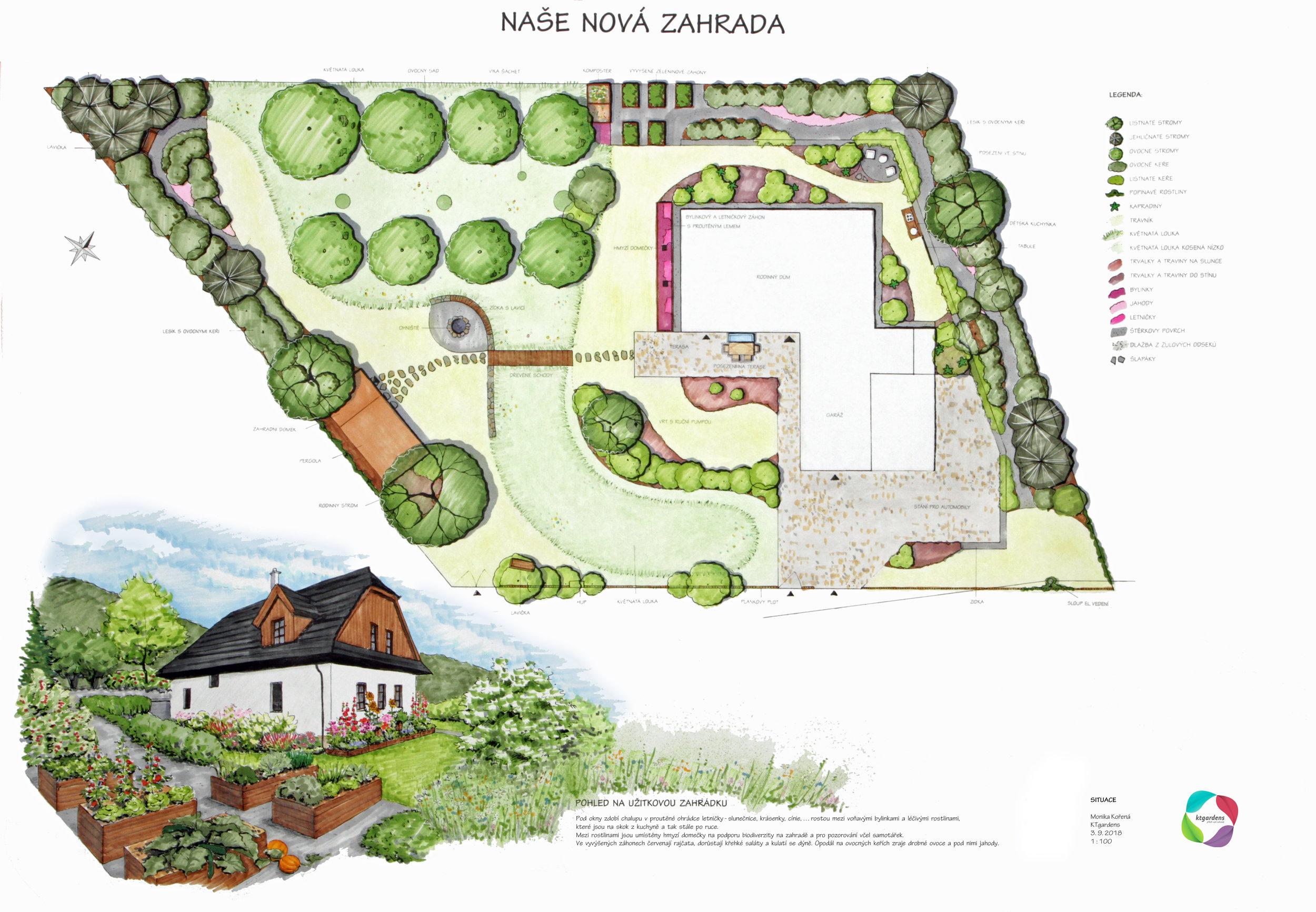 Návrh zahrady ve Vyšních Lhotách, venkovská zahrada, přírodní zahrada, rodinná zahrada, KTgardens