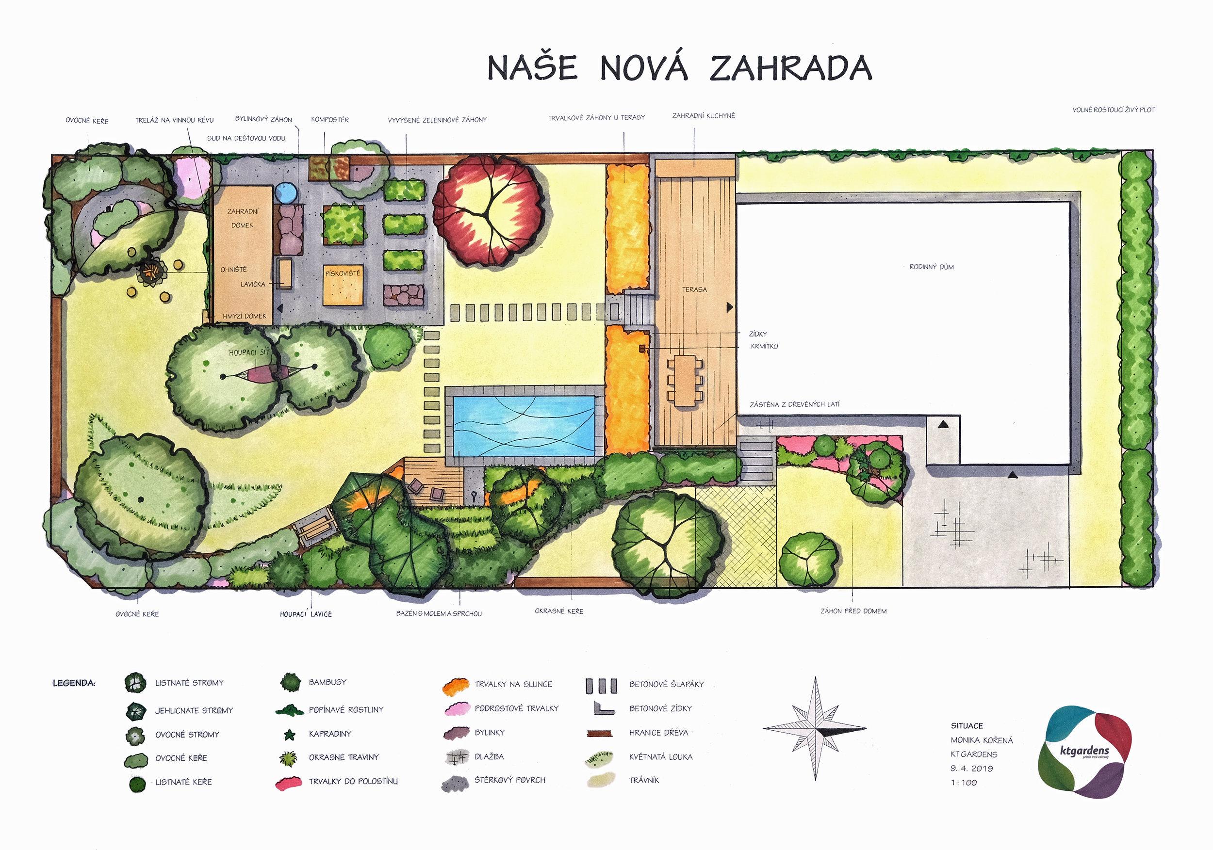 Návrh zahrady ve Velkých Albrechticích, moderní  zahrada, přírodní zahrada, rodinná zahrada, terasa, bazén, zelenina, KTgardens