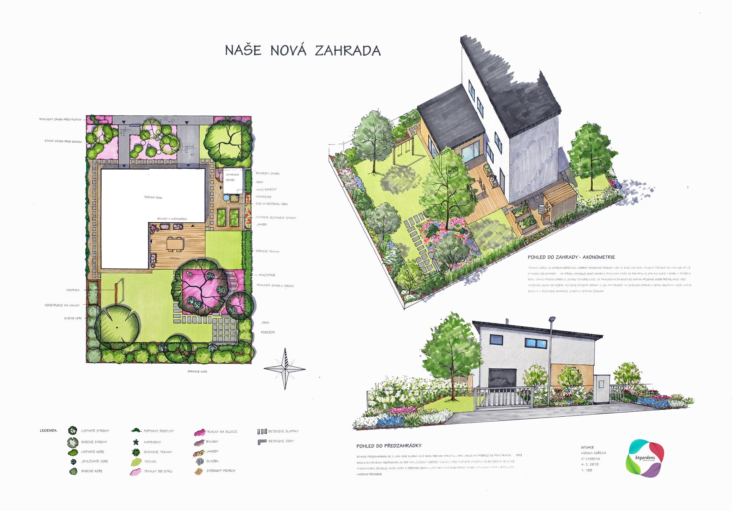 Návrh zahrady v Třeboradicích, moderní zahrada, městská zahrada, KTgardens