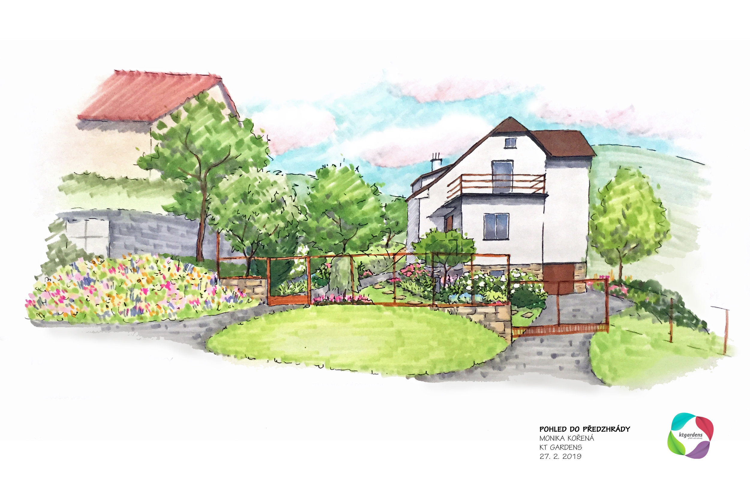 Návrh zahrady ve Štramberku, venkovská zahrada, přírodní zahrada, KTgardens
