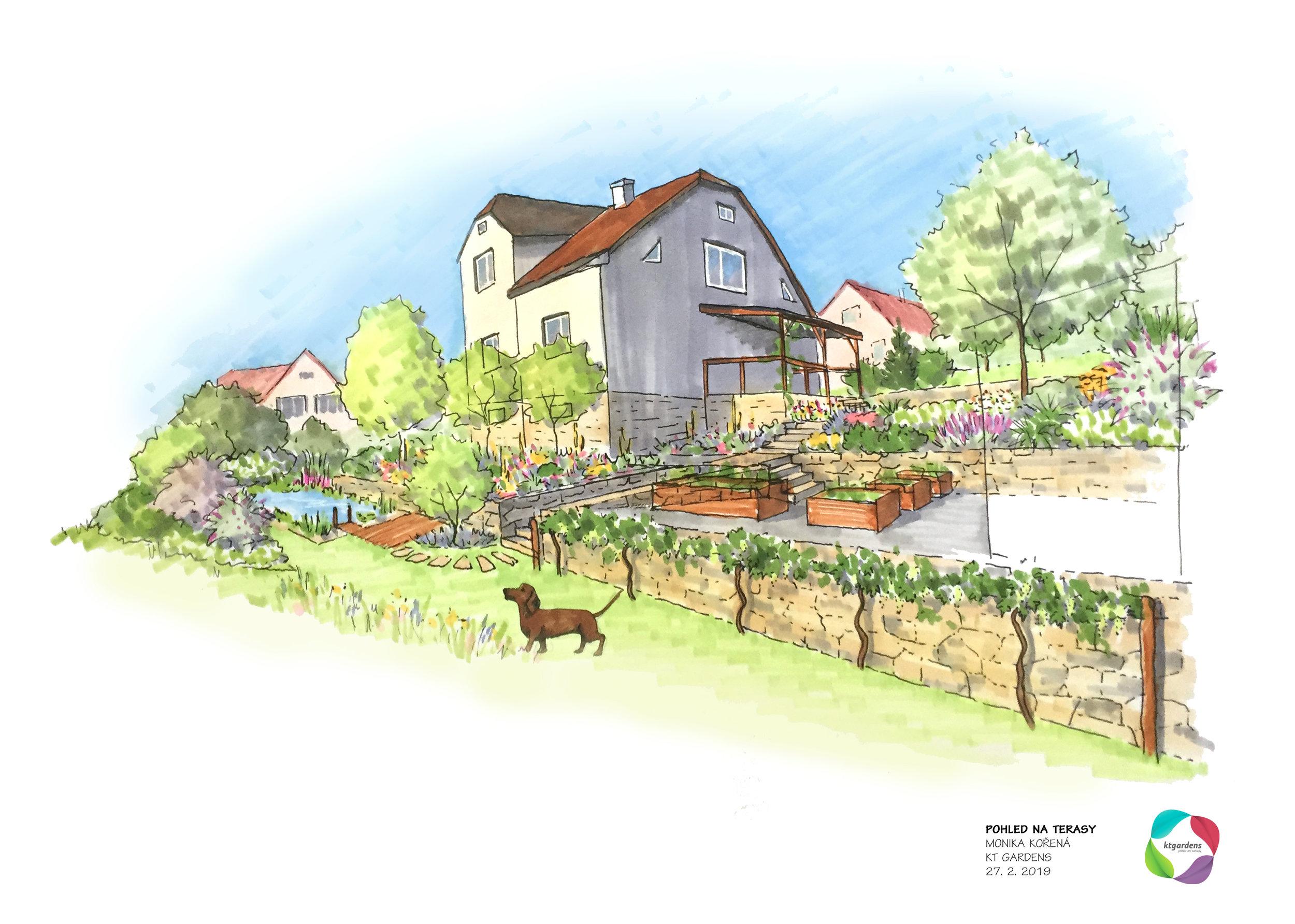 Návrh zahrady ve Štramberku, venkovská zahrada, přírodní zahrada, kamenné zídky, KTgardens