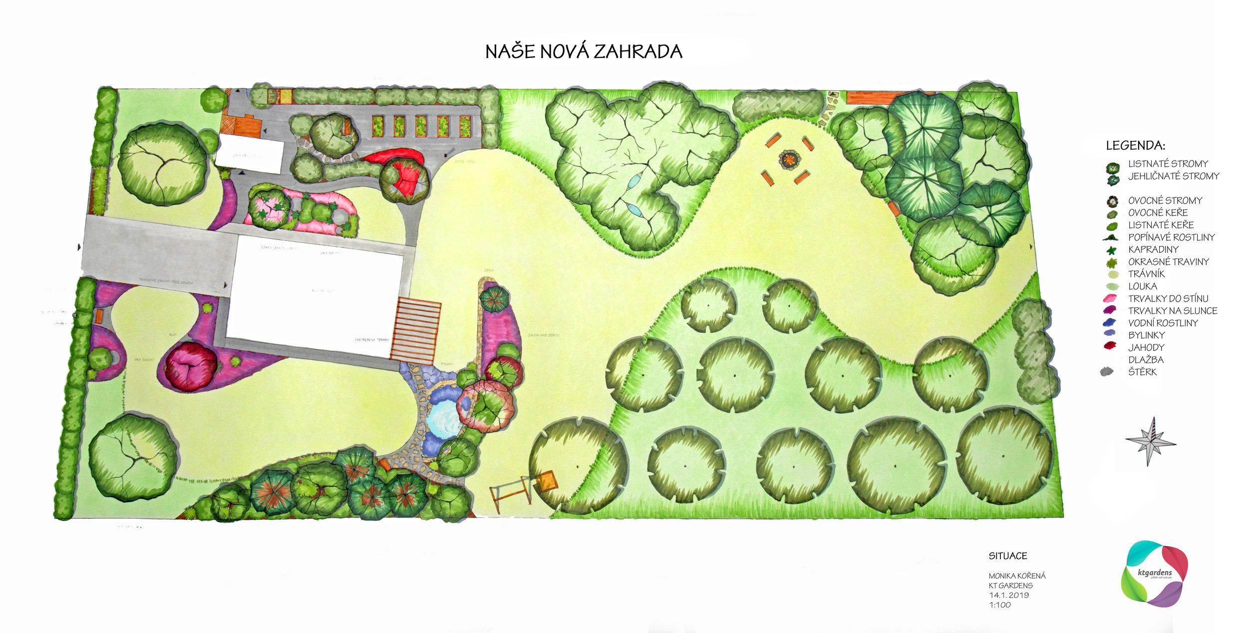 Návrh zahrady v Závišicích, venkovská zahrada, přírodní zahrada, zahrada pro včelaře, KTgardens