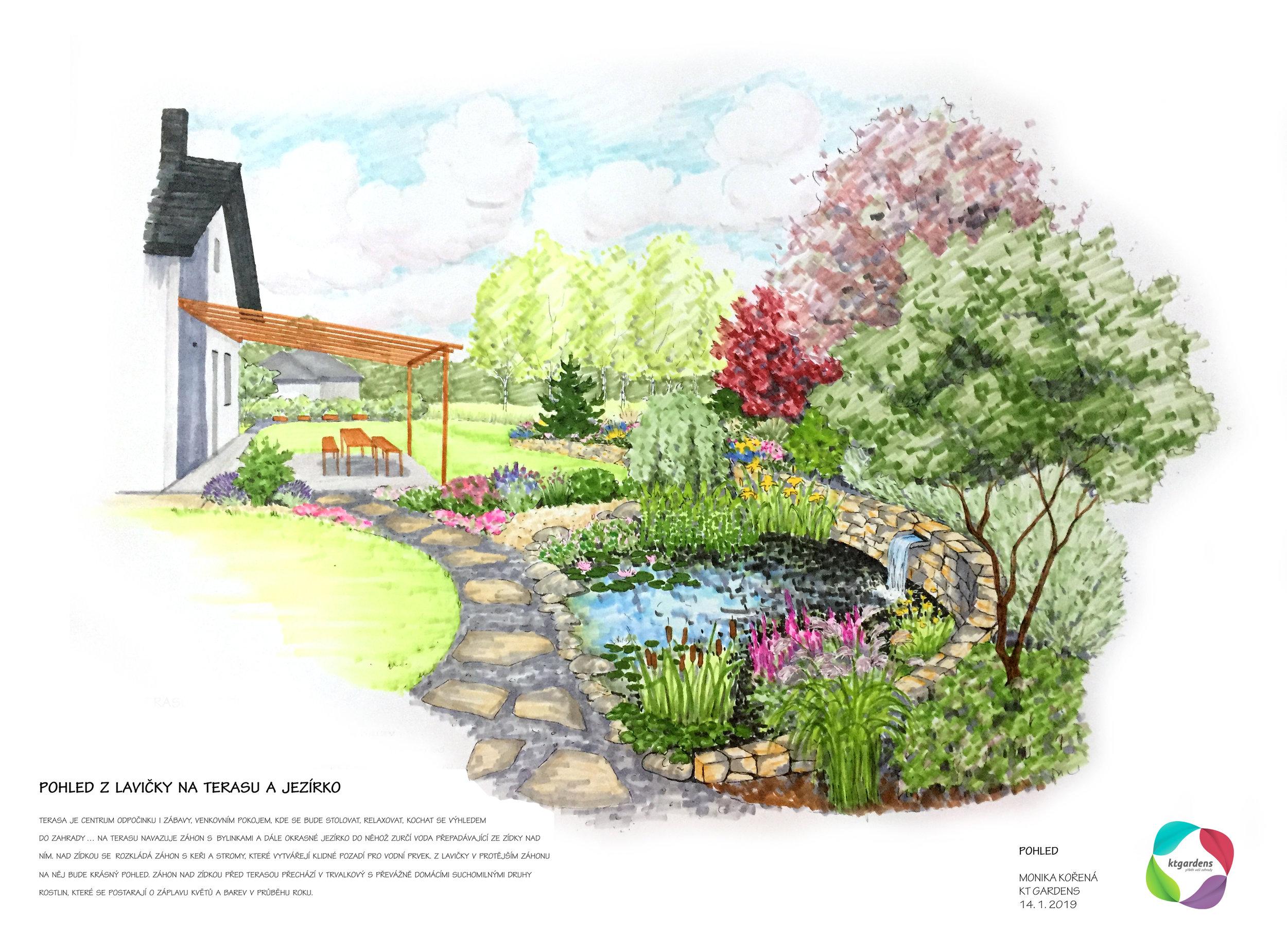 Návrh zahrady v Závišicích, venkovská zahrada, přírodní zahrada, zahrada pro včelaře, jezírko, KTgardens