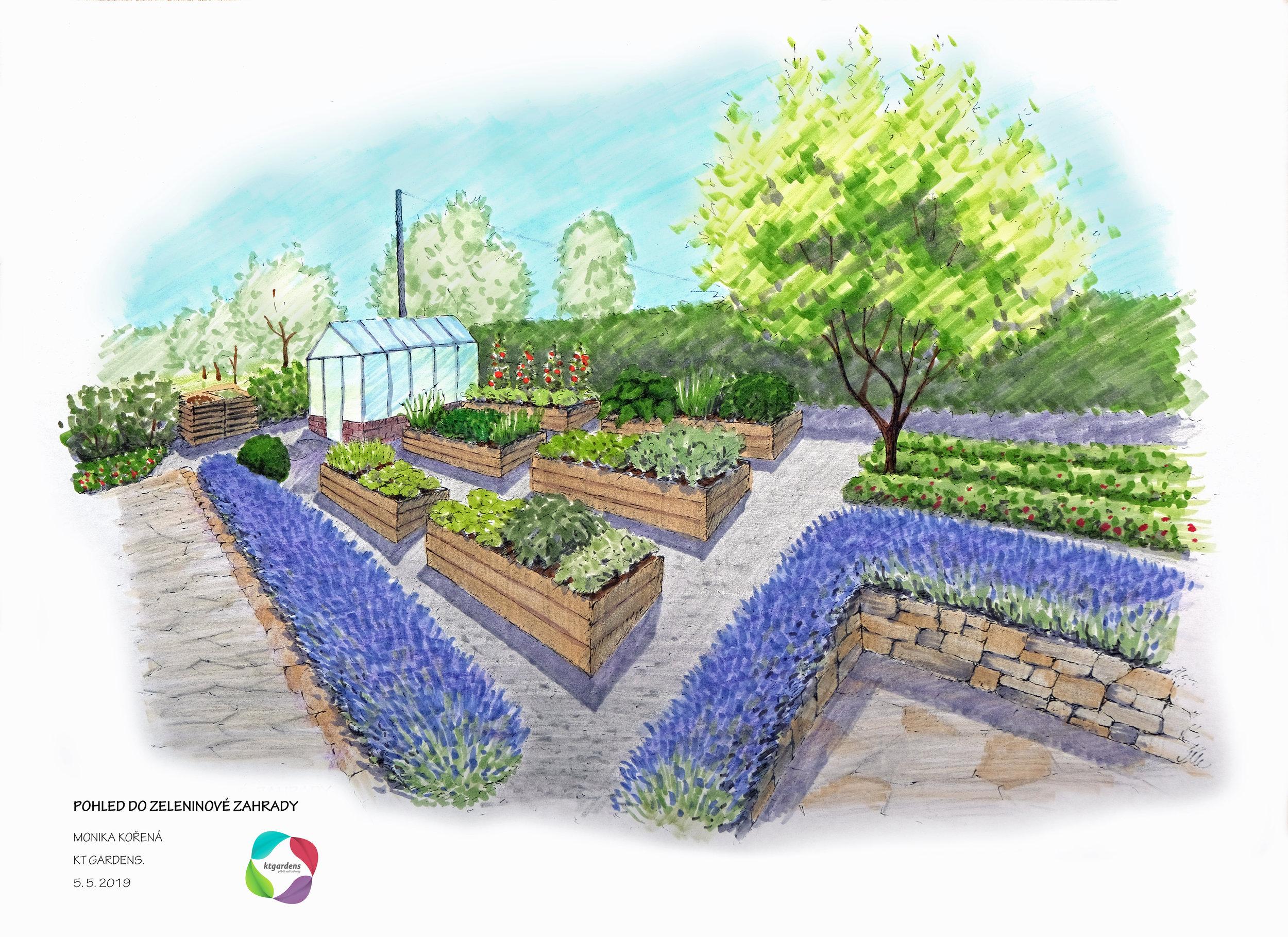 Návrh zahrady v Čeladné, venkovská zahrada, rodinná zahrada, trvalky, záhony, bylinky, zelenina, KTgardens