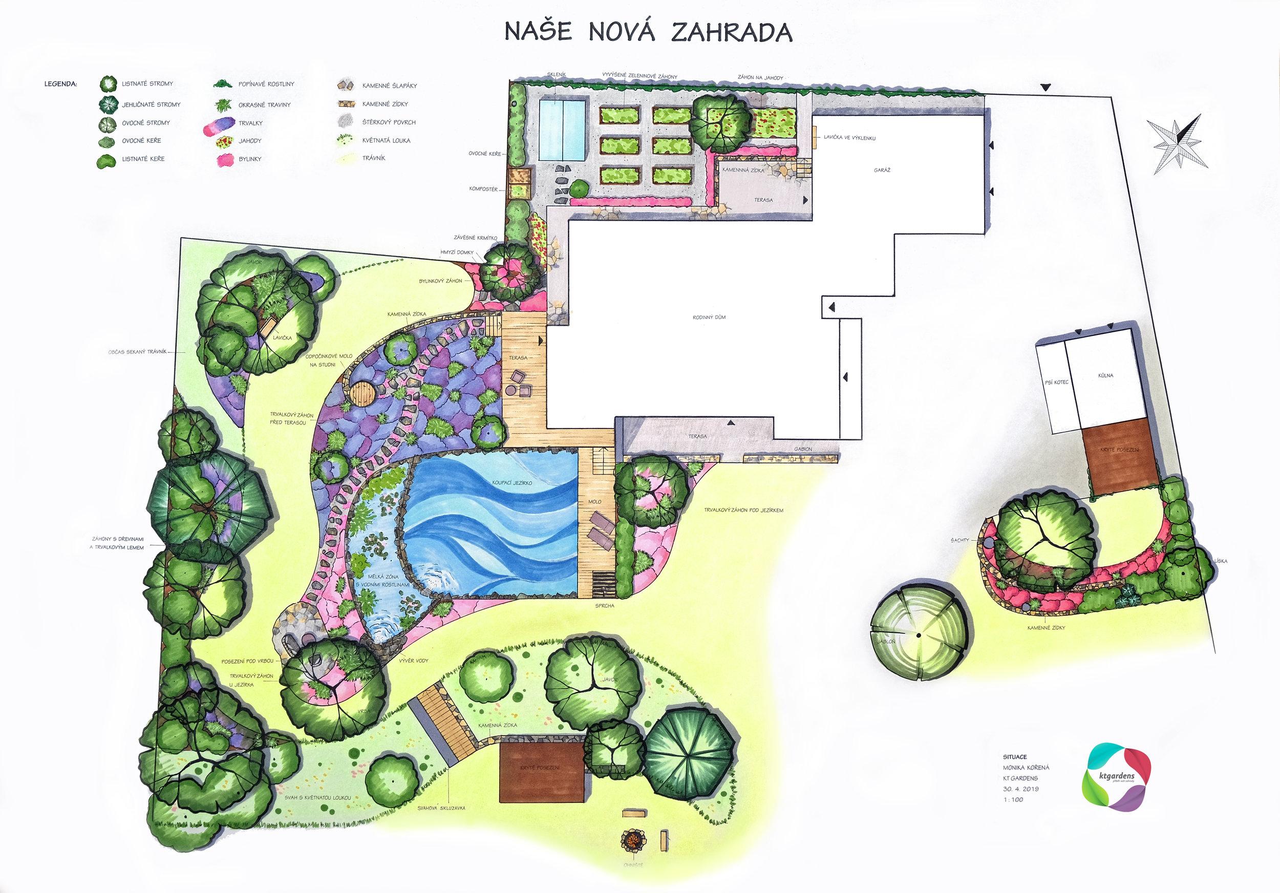 Návrh zahrady v Čeladné, venkovská zahrada, rodinná zahrada, jezírko, trvalky, záhony, louka, KTgardens