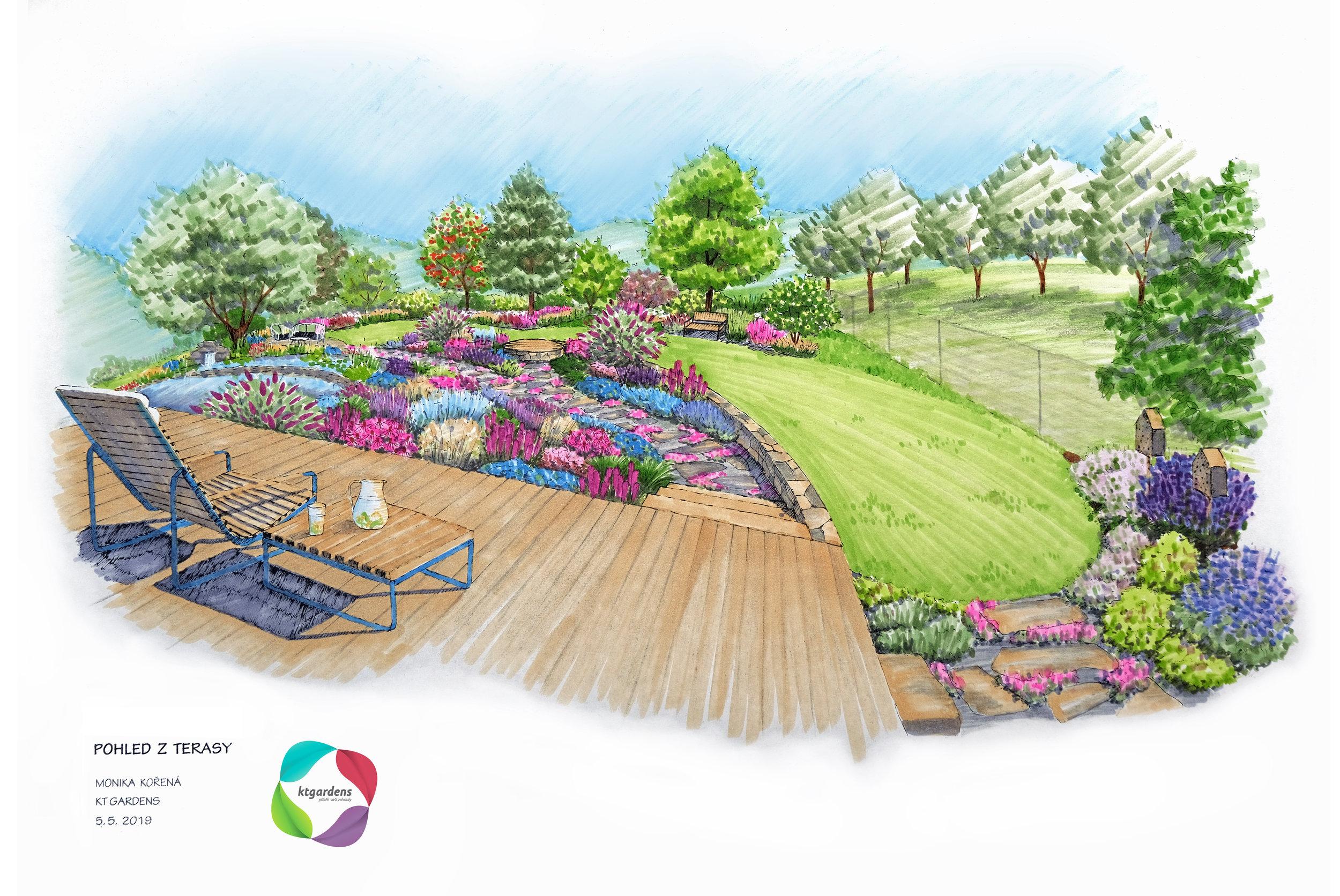 Návrh zahrady v Čeladné, venkovská zahrada, rodinná zahrada, jezírko, trvalky, záhony, terasa, sad, bylinky, KTgardens