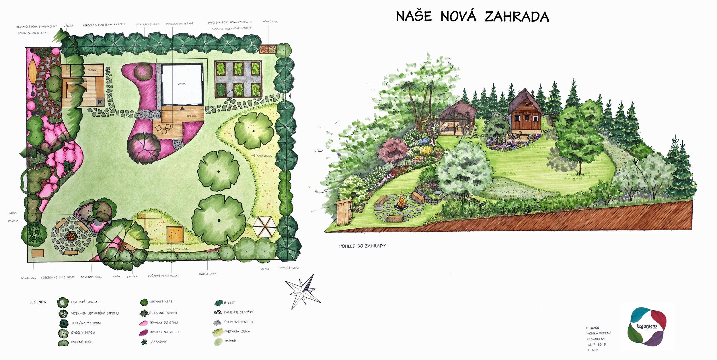 Návrh zahrady u chaty ve Vítězné, venkovská zahrada, rodinná zahrada, ohniště, trvalky, záhony, louka, les, KTgardens