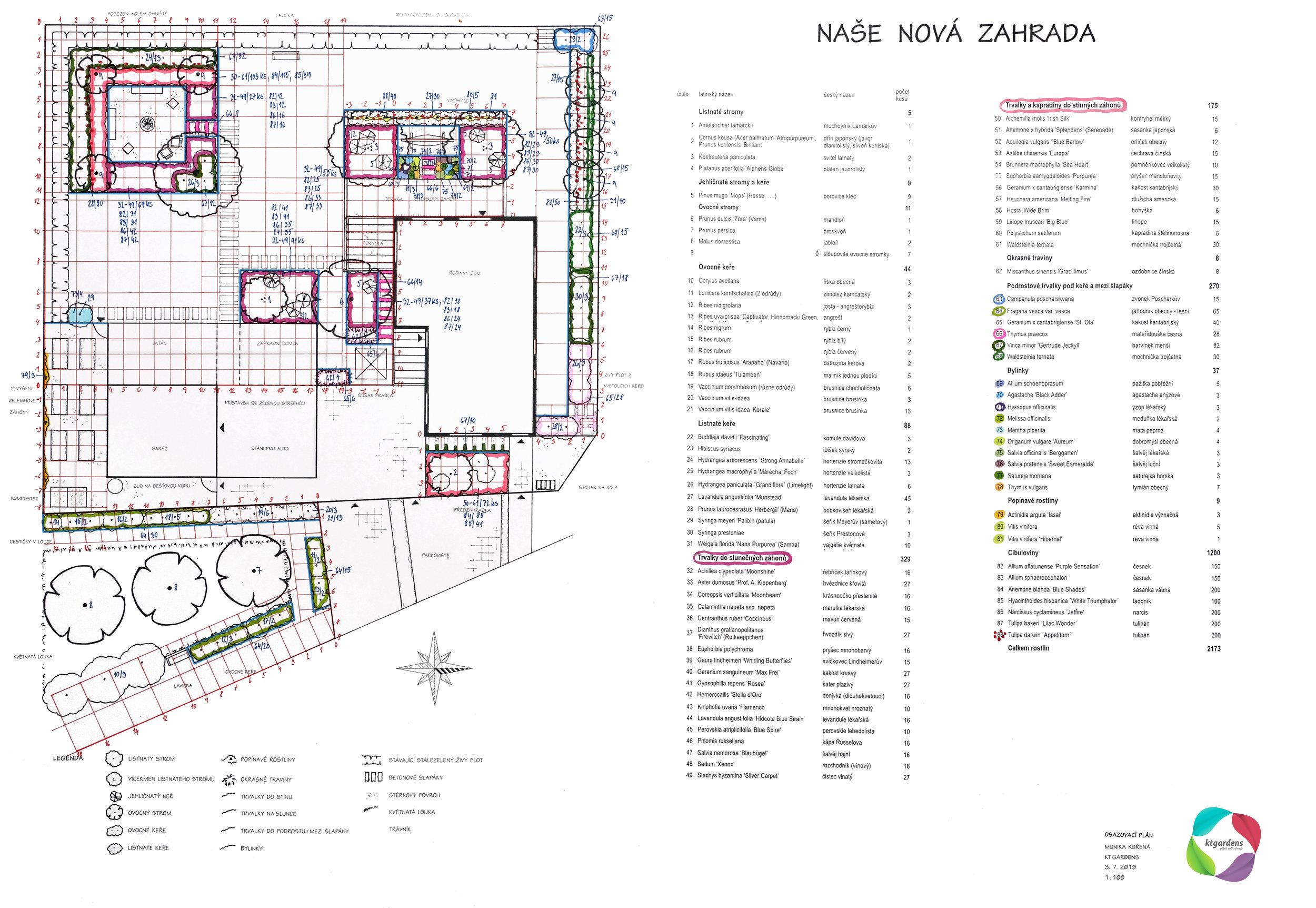 Návrh zahrady ve Vlčnově, moderní zahrada, rodinná zahrada, ohniště, trvalky, záhony, louka, KTgardens