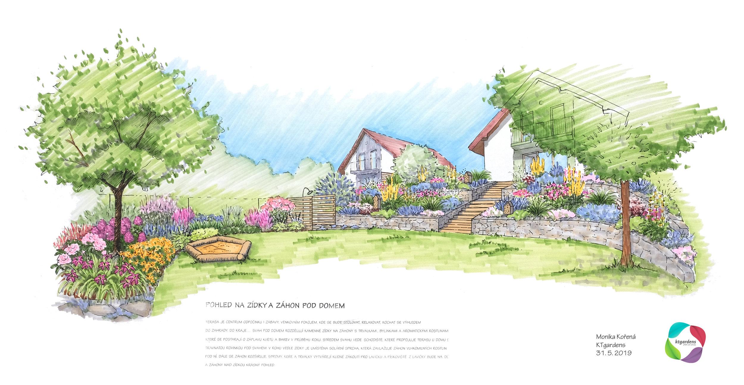 Návrh zahrady v Řepišti, venkovská zahrada, přírodní zahrada. rodinná zahrada, ohniště, trvalky, záhony, kamenné zídky, louka, les, KTgardens