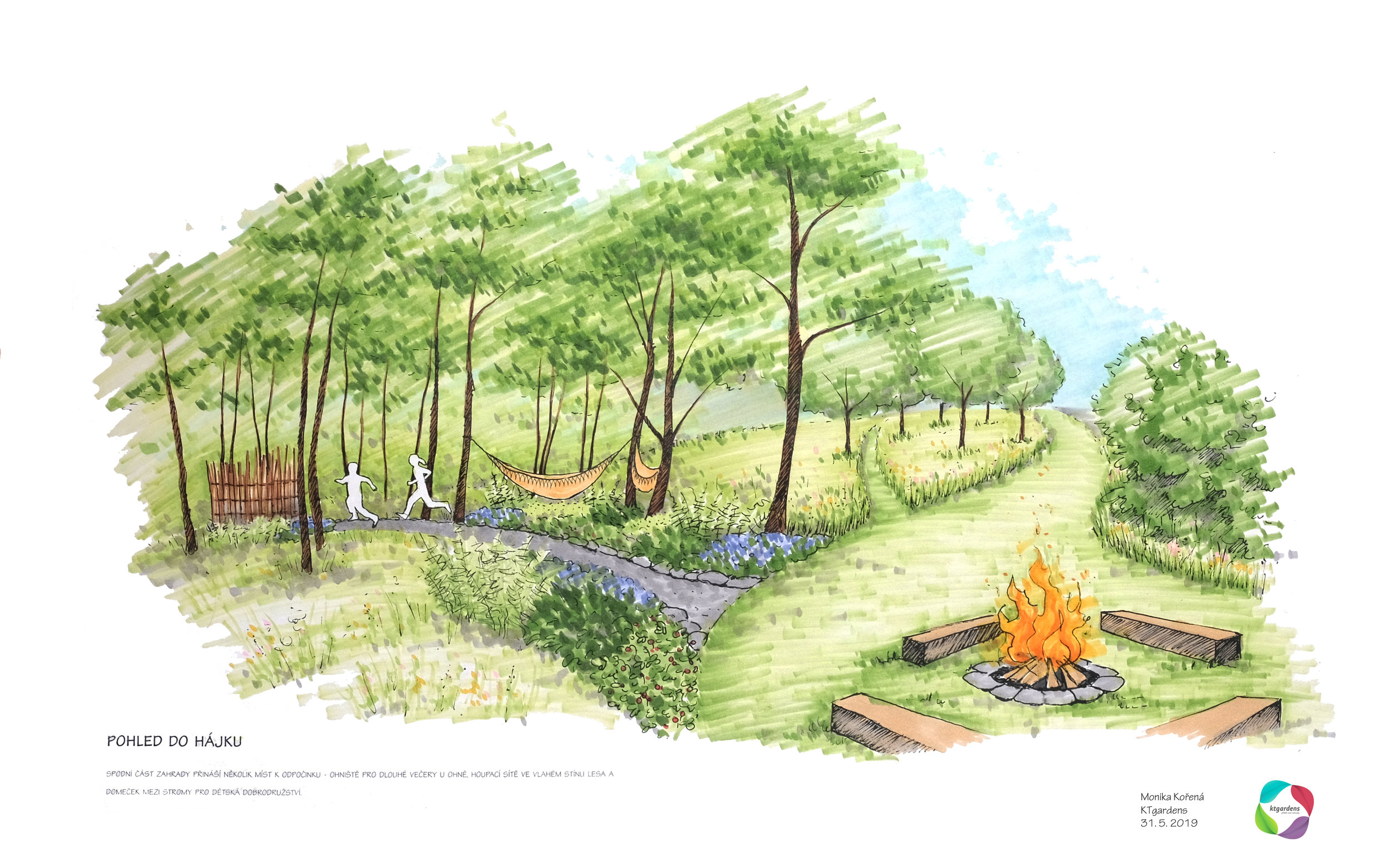 Návrh zahrady v Řepišti, venkovská zahrada, přírodní zahrada. rodinná zahrada, ohniště, louka, les, trvalky, sad, KTgardens