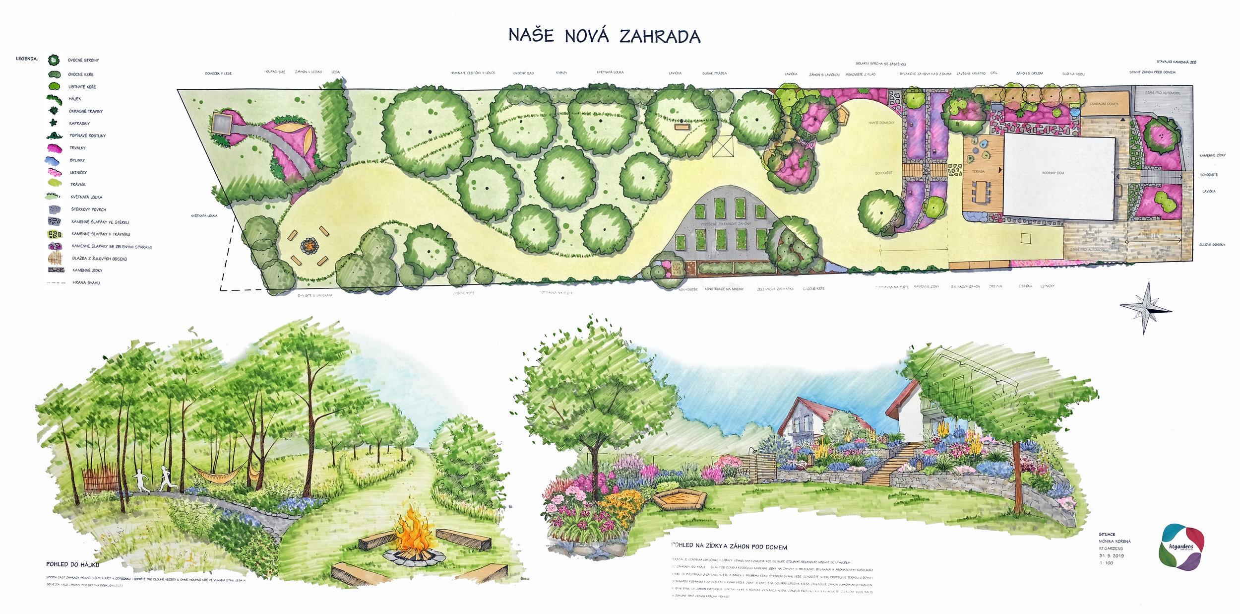 Návrh zahrady v Řepišti, venkovská zahrada, přírodní zahrada. rodinná zahrada, ohniště, trvalky, záhony, kamenné zídky, louka, les, sad, KTgardens