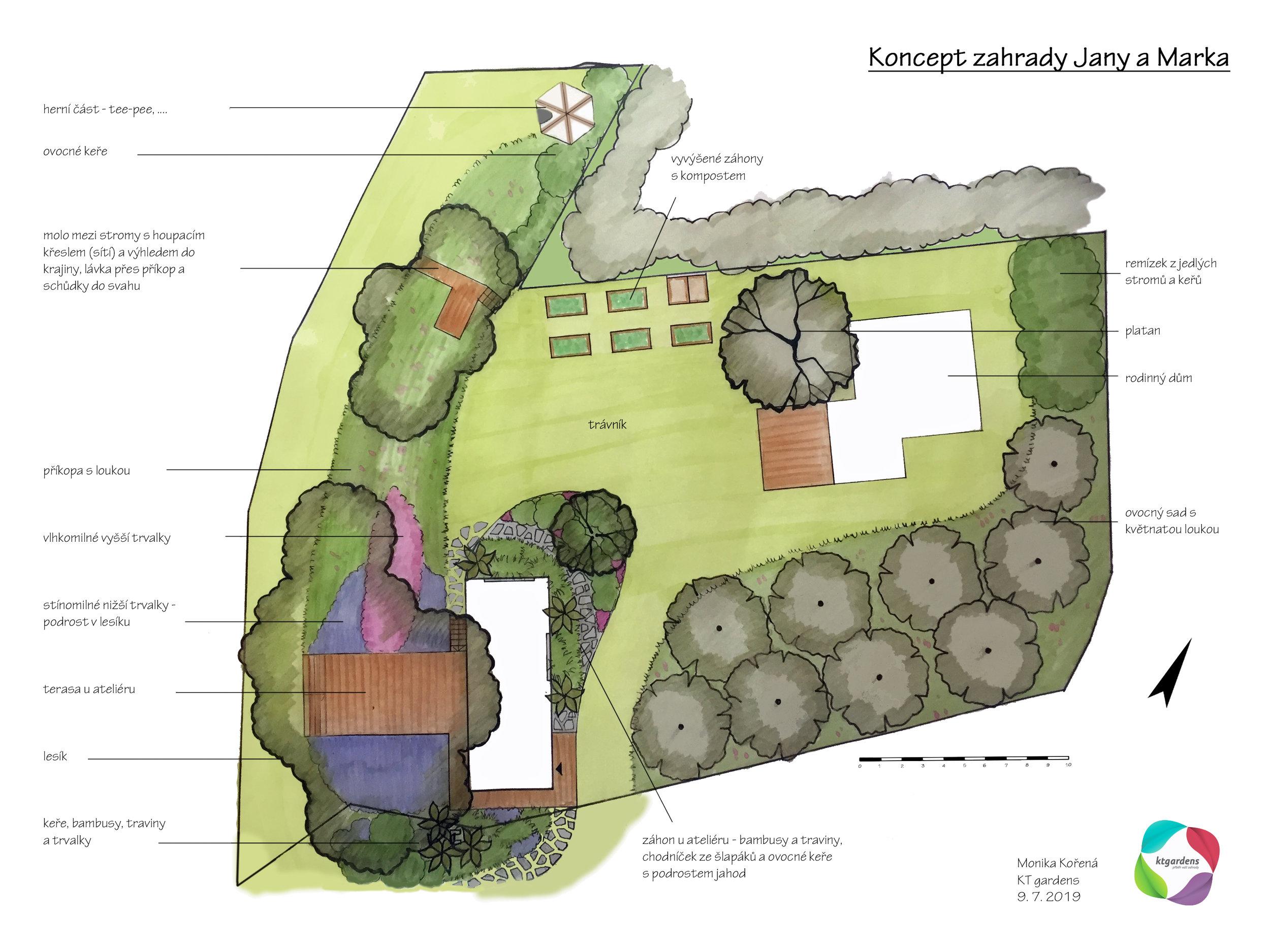 Návrh zahrady ve Vlčnově , venkovská zahrada, přírodní zahrada,  rodinná zahrada, zahrada u ateliéru, louka, sad, ateliér, záhony, les, KTgardens
