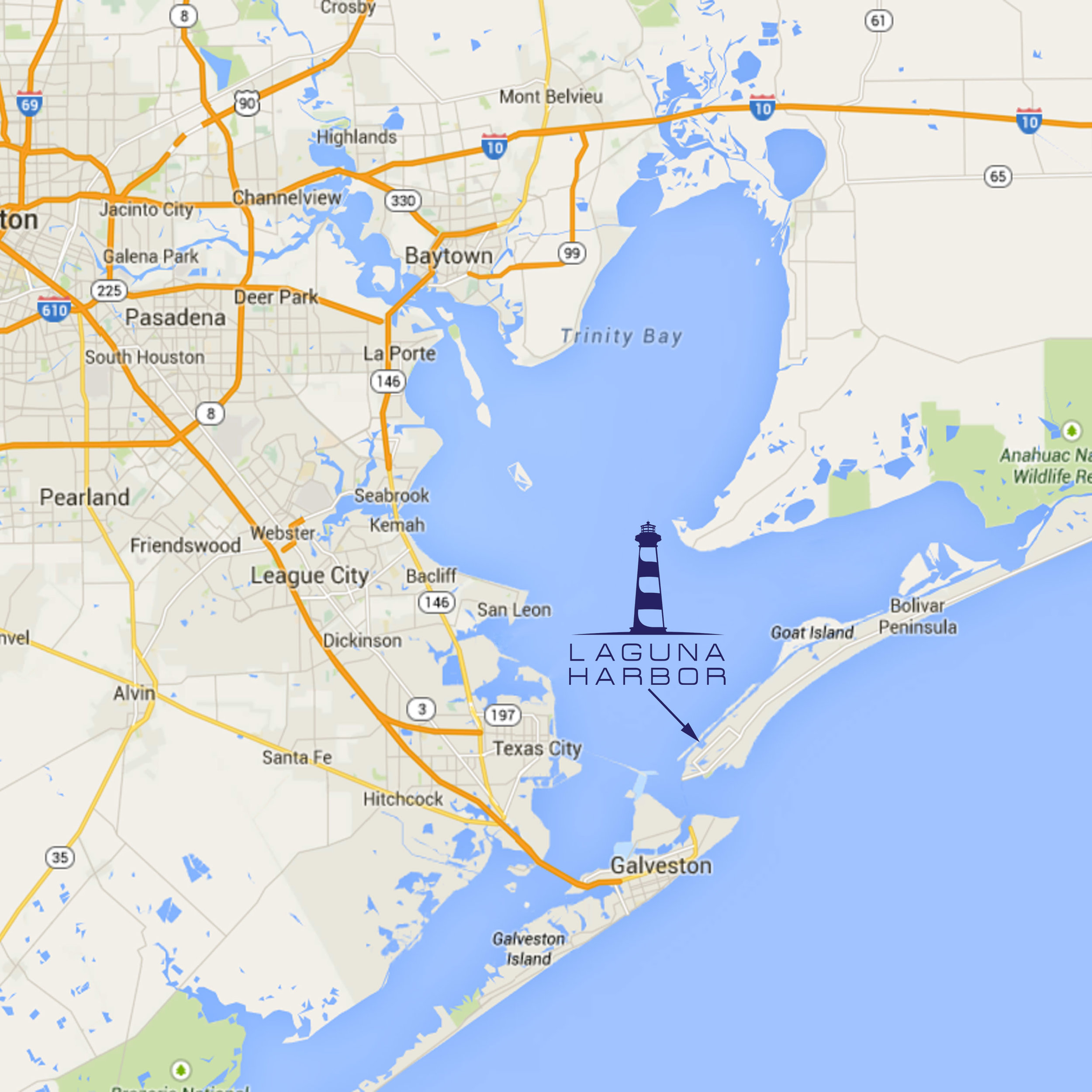 Laguna Harbor is located on Galveston Bay along the Intracoastal Waterway, on the western end of Bolivar Peninsula, Texas.