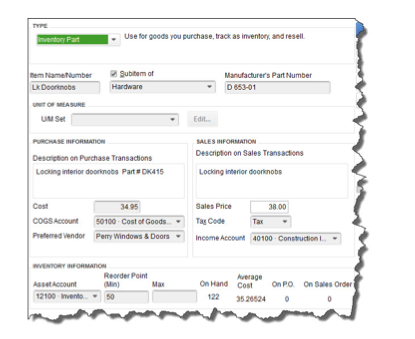 Double- and triple-check your work as you enter information in the QuickBooks item record window.