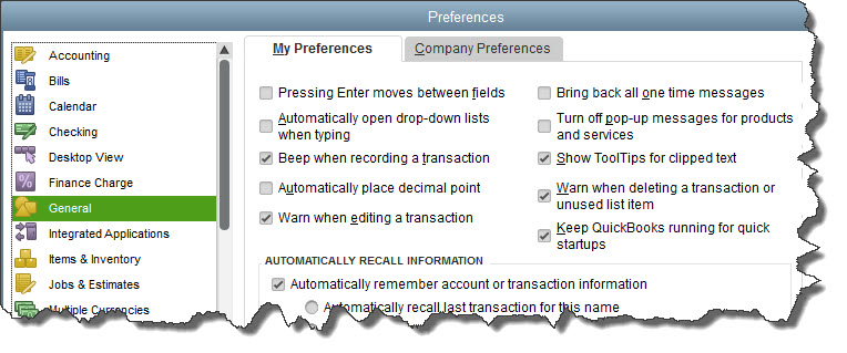 To start customizing QuickBooks so it works best for you, open the Edit menu and choose Preferences.